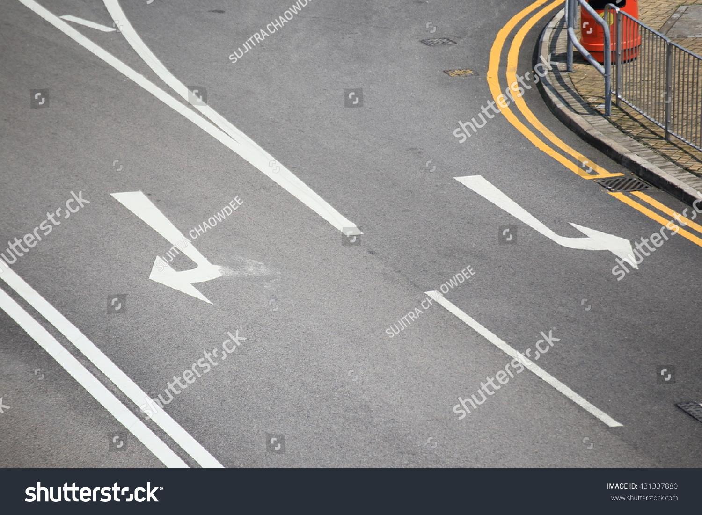 Arrow Signs Road Markings On Street Stock Photo 431337880 ...