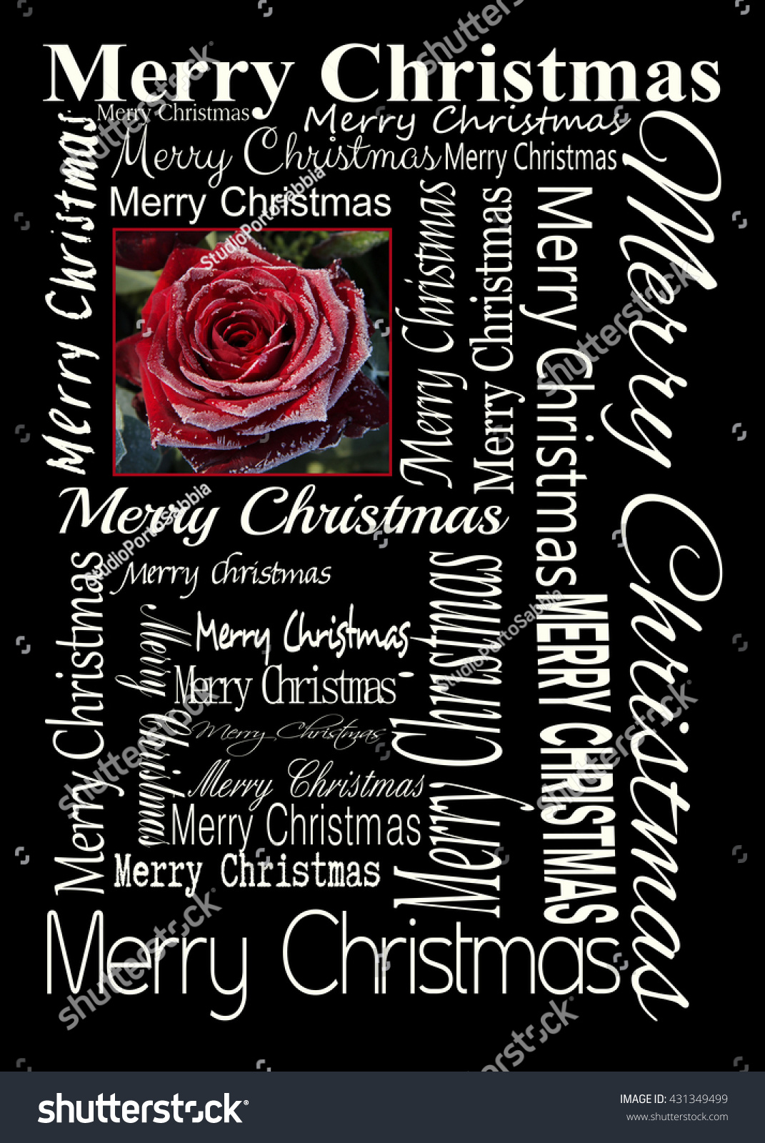 Merry Christmas Card Single Red Rose Covered Stock Photo (Edit Now ...