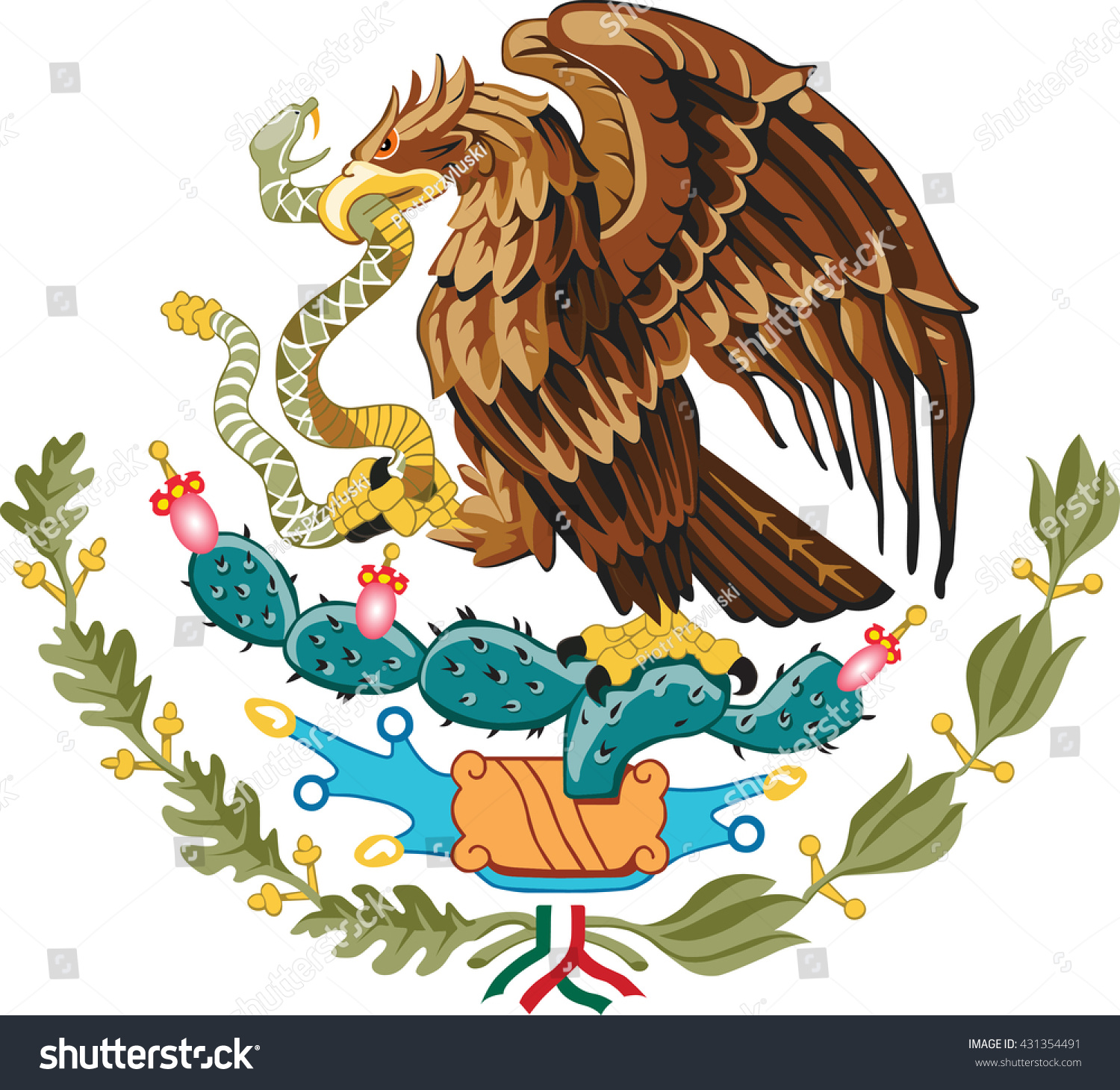 mexico eagle coat arms stock vector 431354491 shutterstock