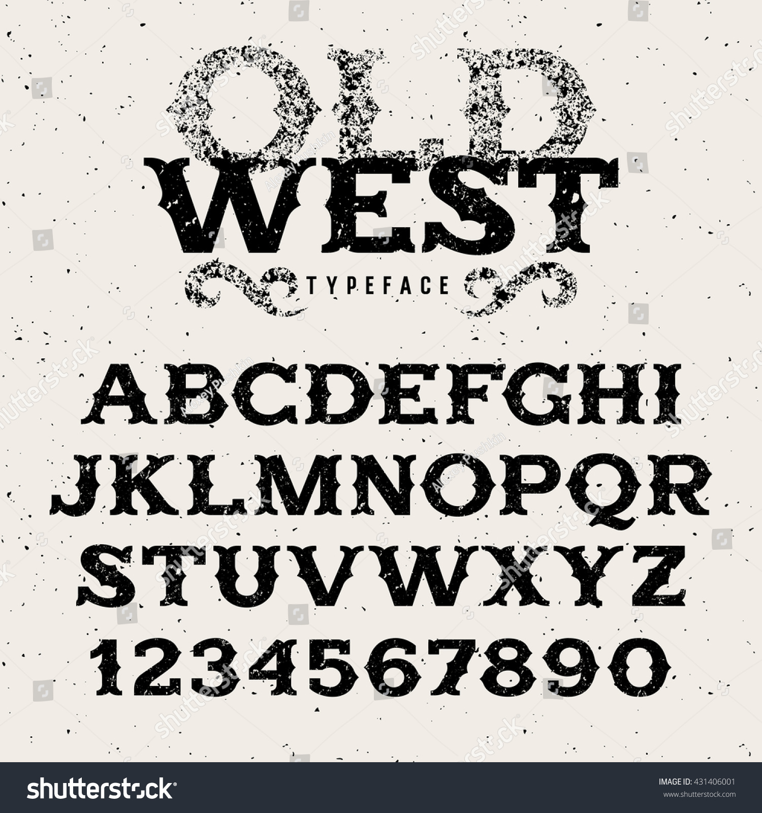 Vintage Alphabet Wild West Style Retro Stock Vector ...