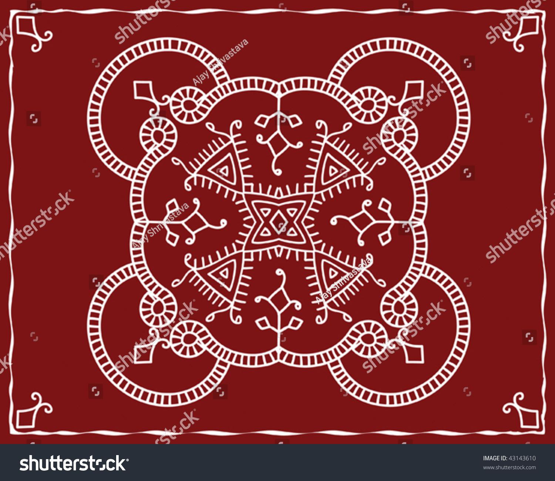 folk tribal designs motif wall painting stock vector illustration 43143610 shutterstock. Black Bedroom Furniture Sets. Home Design Ideas