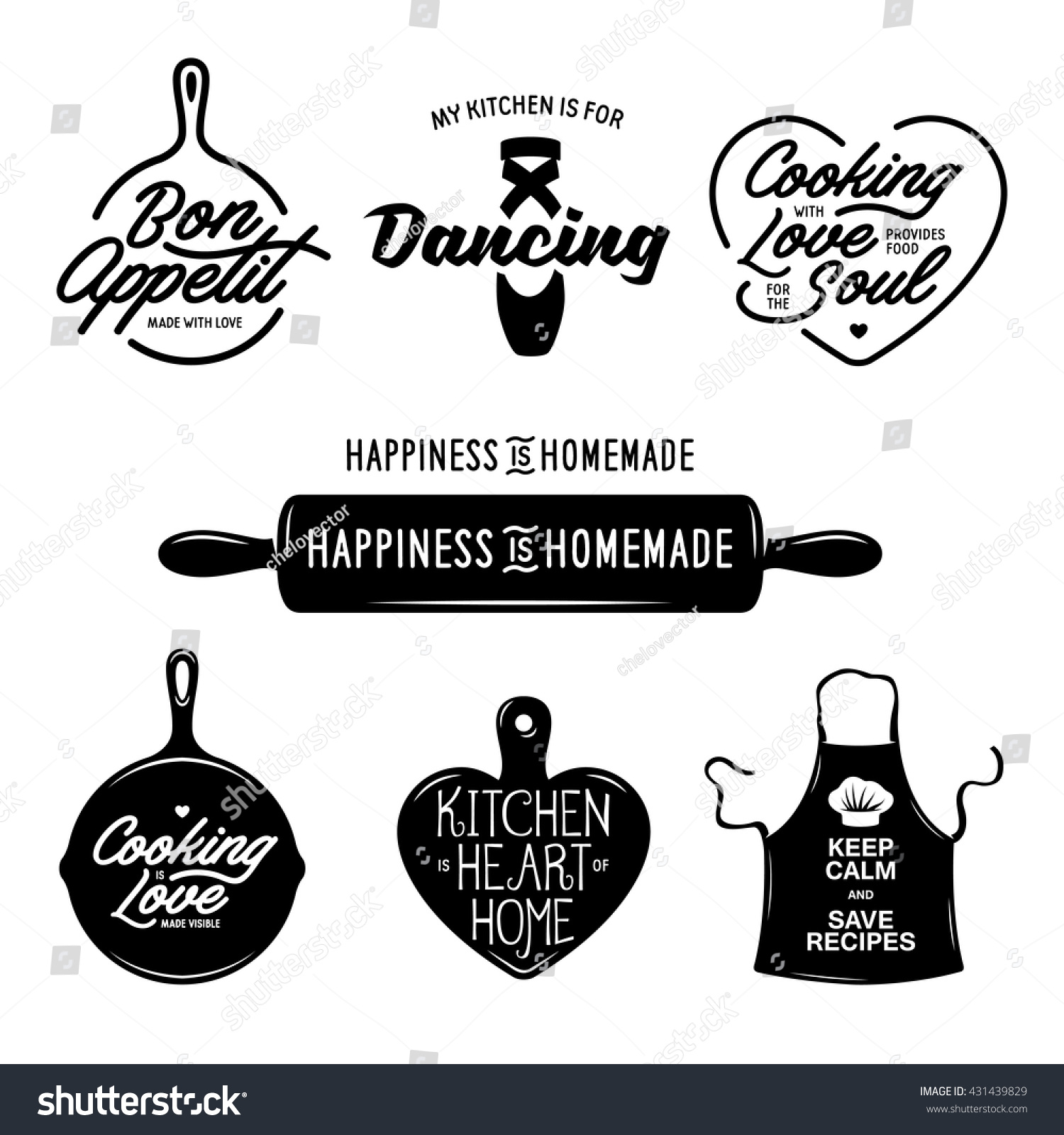 Kitchen Related Typography Set Quotes About Stock Photo (Photo ...