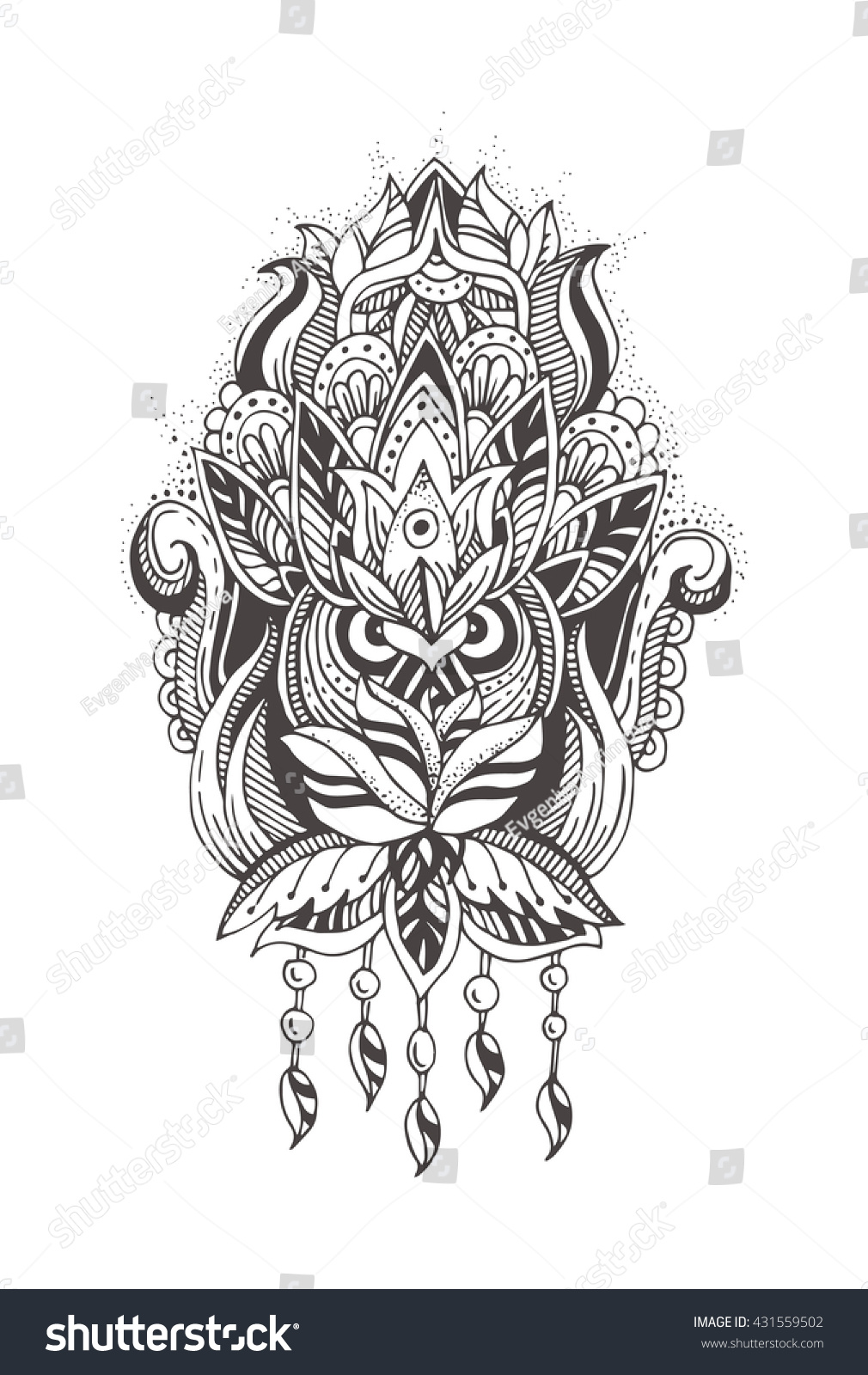 owl henna tattoo mehndi floral abstract stock vector 431559502 shutterstock. Black Bedroom Furniture Sets. Home Design Ideas