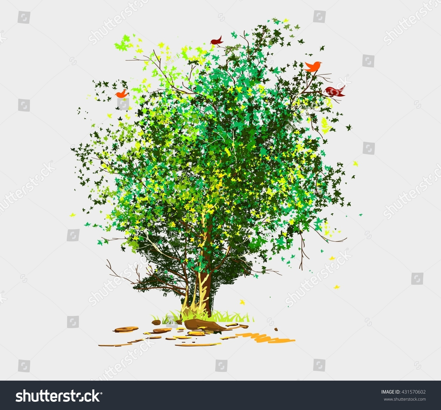 Colorful Tree Background Stock Vector 431570602 - Shutterstock