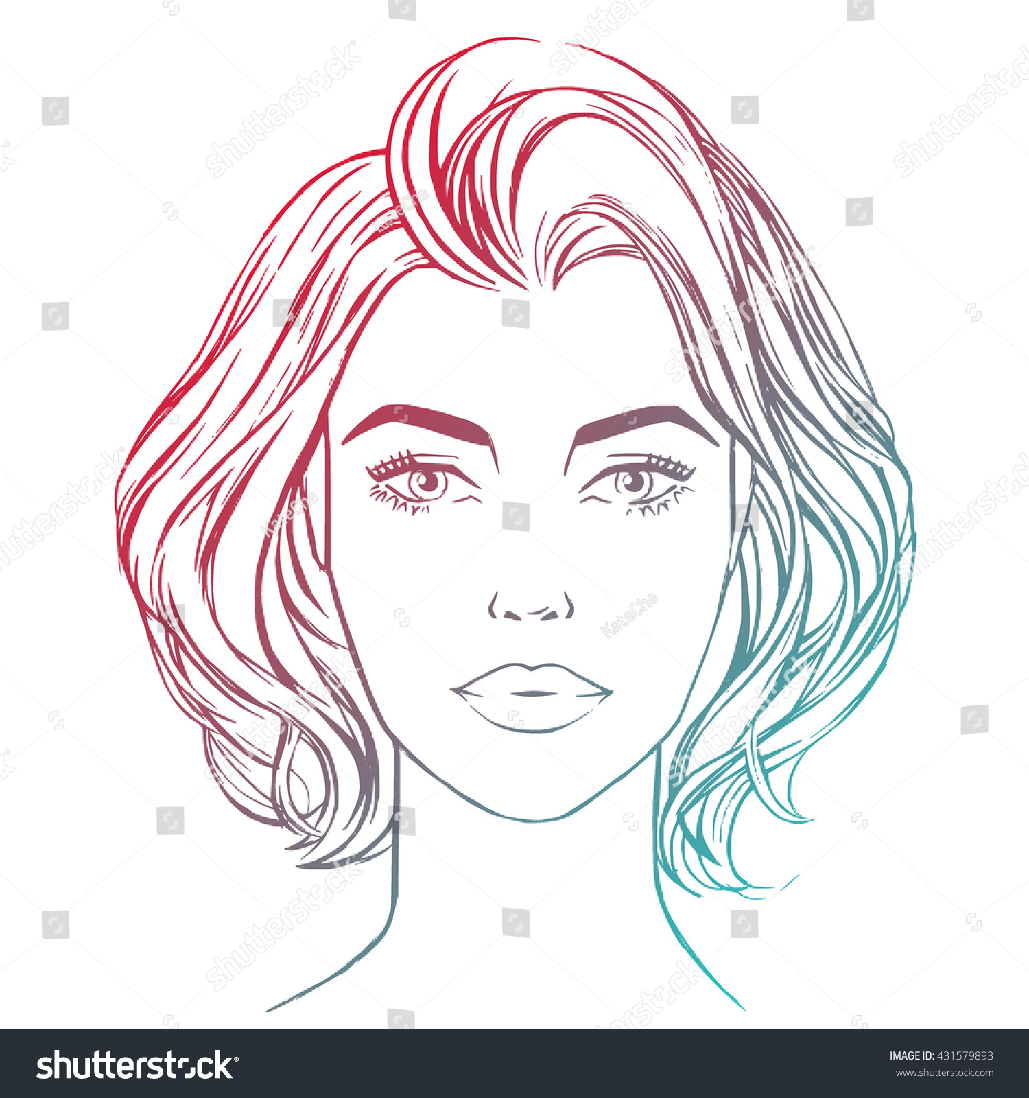 Line Drawing Lady Face : Woman closeup portrait sketch style beautiful stock vector