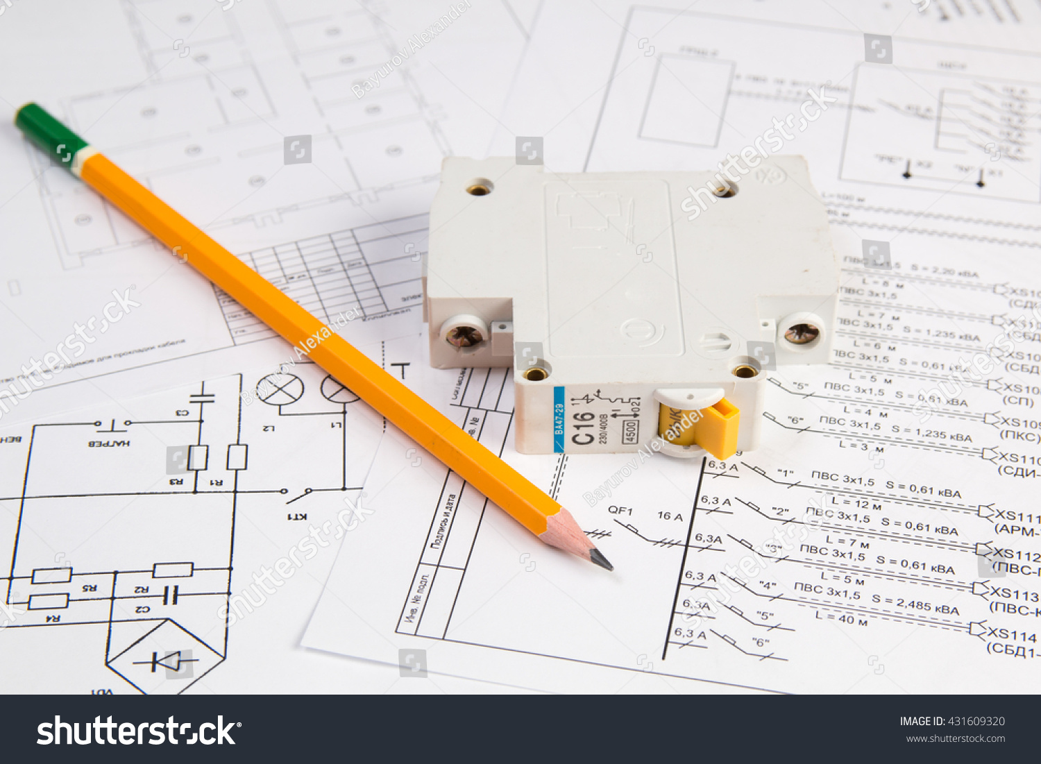 Science Technology Electronics Electrical Engineering Drawings Stock Electric Circuit Drawing And Printing With Pencil Breaker