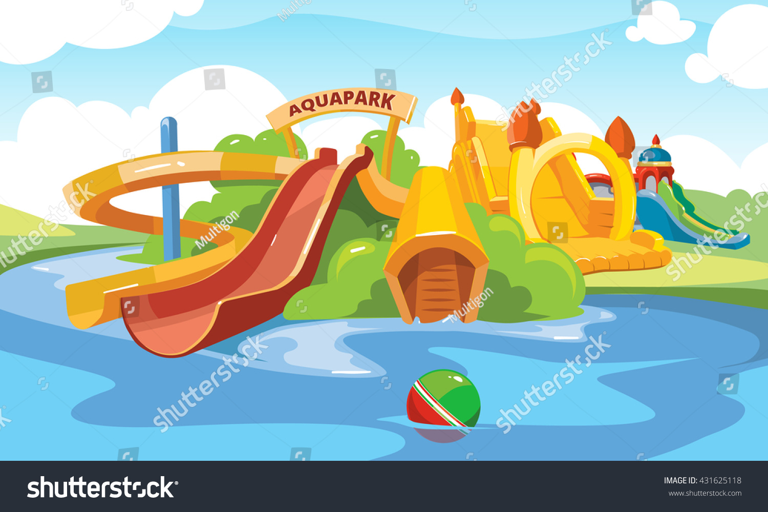 Vector Illustration. Cartoon Pictures Of Water Slide And ...