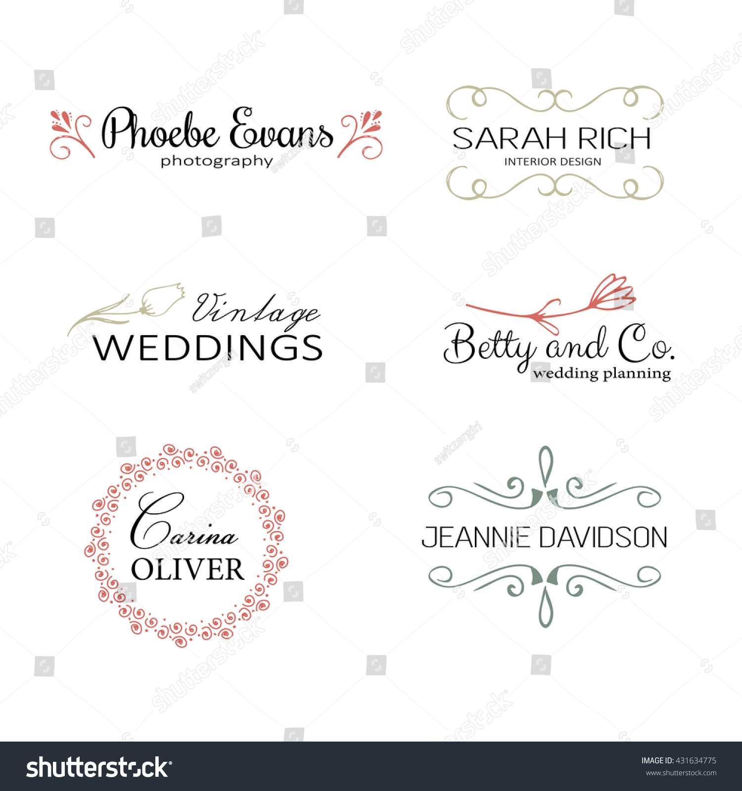 Hand drawn logo templates Floral logo rustic logo simple logo set