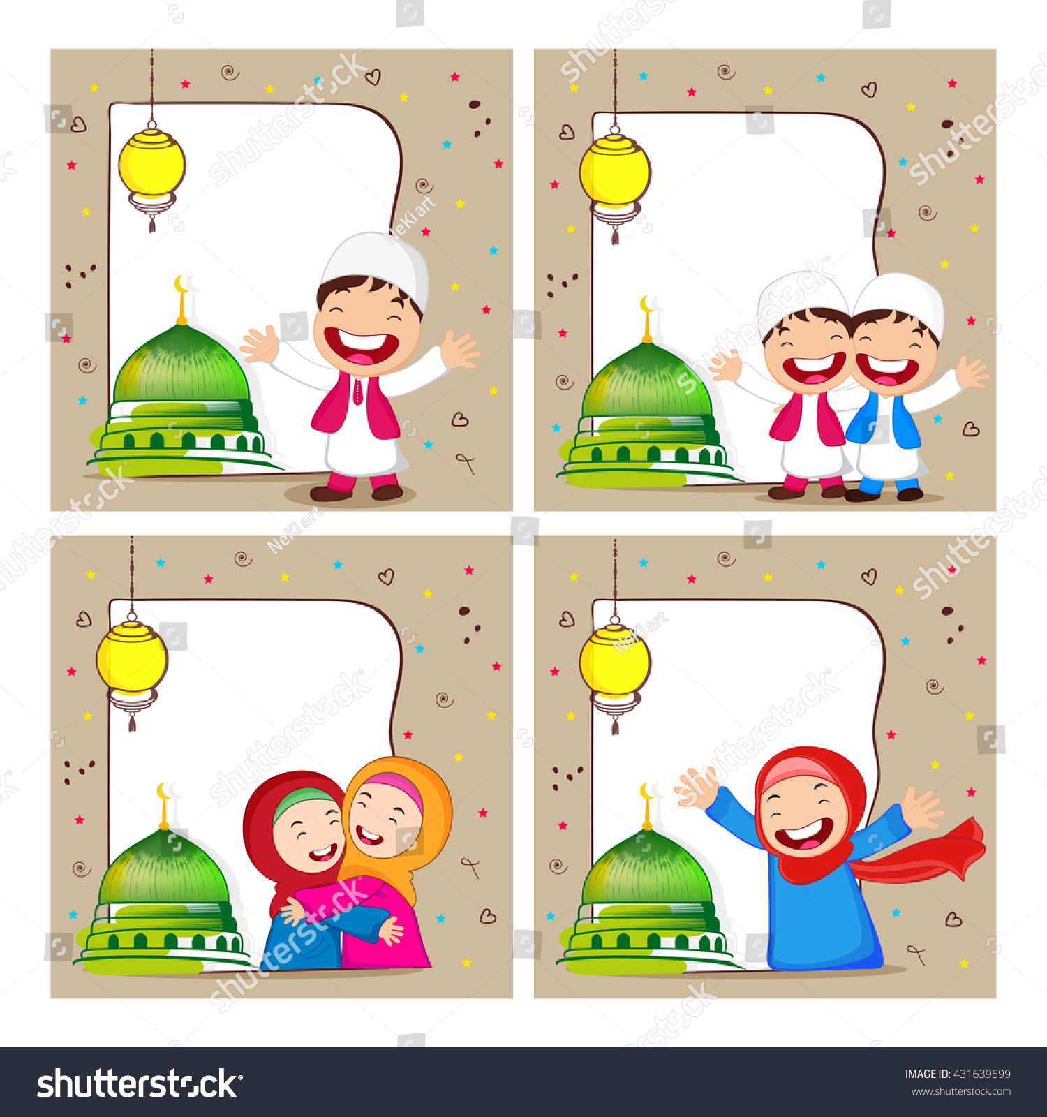 Set Greeting Card Designs Cute Happy Stock Vector Royalty Free