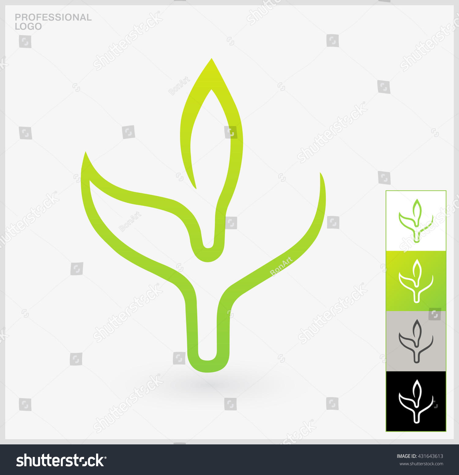 Eco logo elements single green leaf stock vector 431643613 a single green leaf on a white background professional use on biocorpaavc Image collections