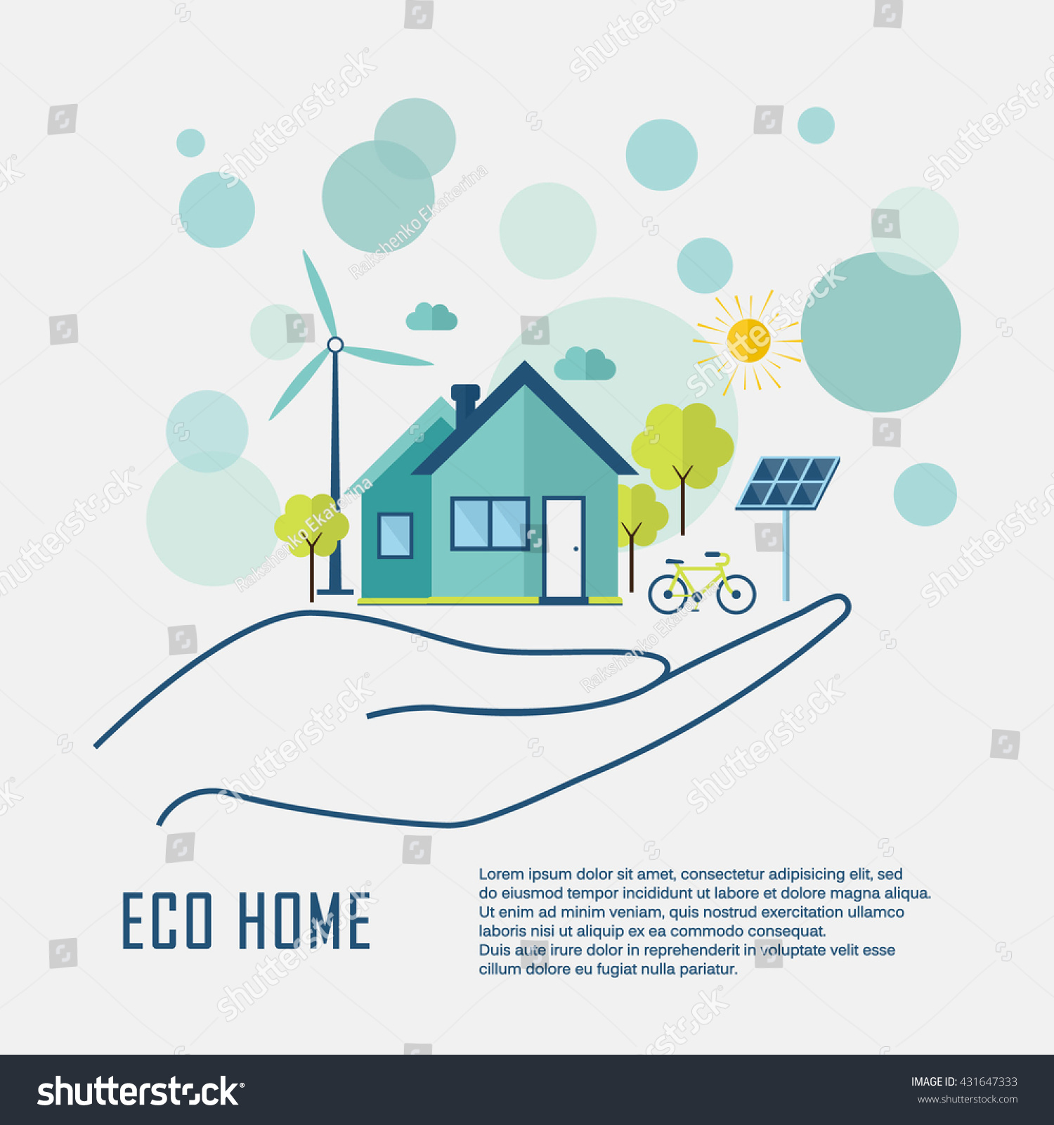 Eco Home Flat Design Ecology Concept Stock Vector HD (Royalty Free ...