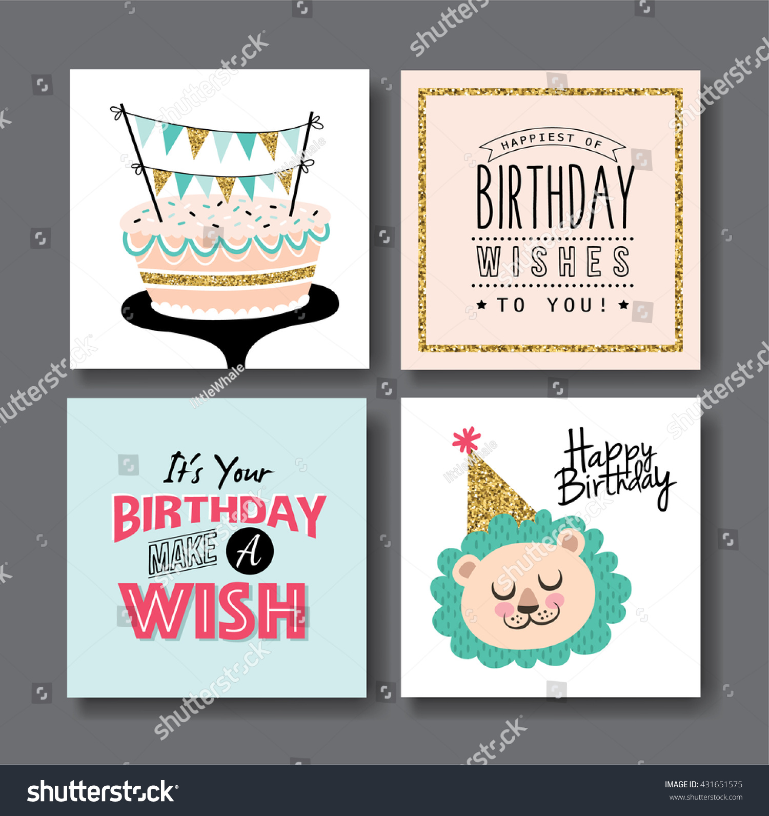 Vector bunting flags lovely celebration card with colorful paper - Set Of Birthday Greeting Cards Design