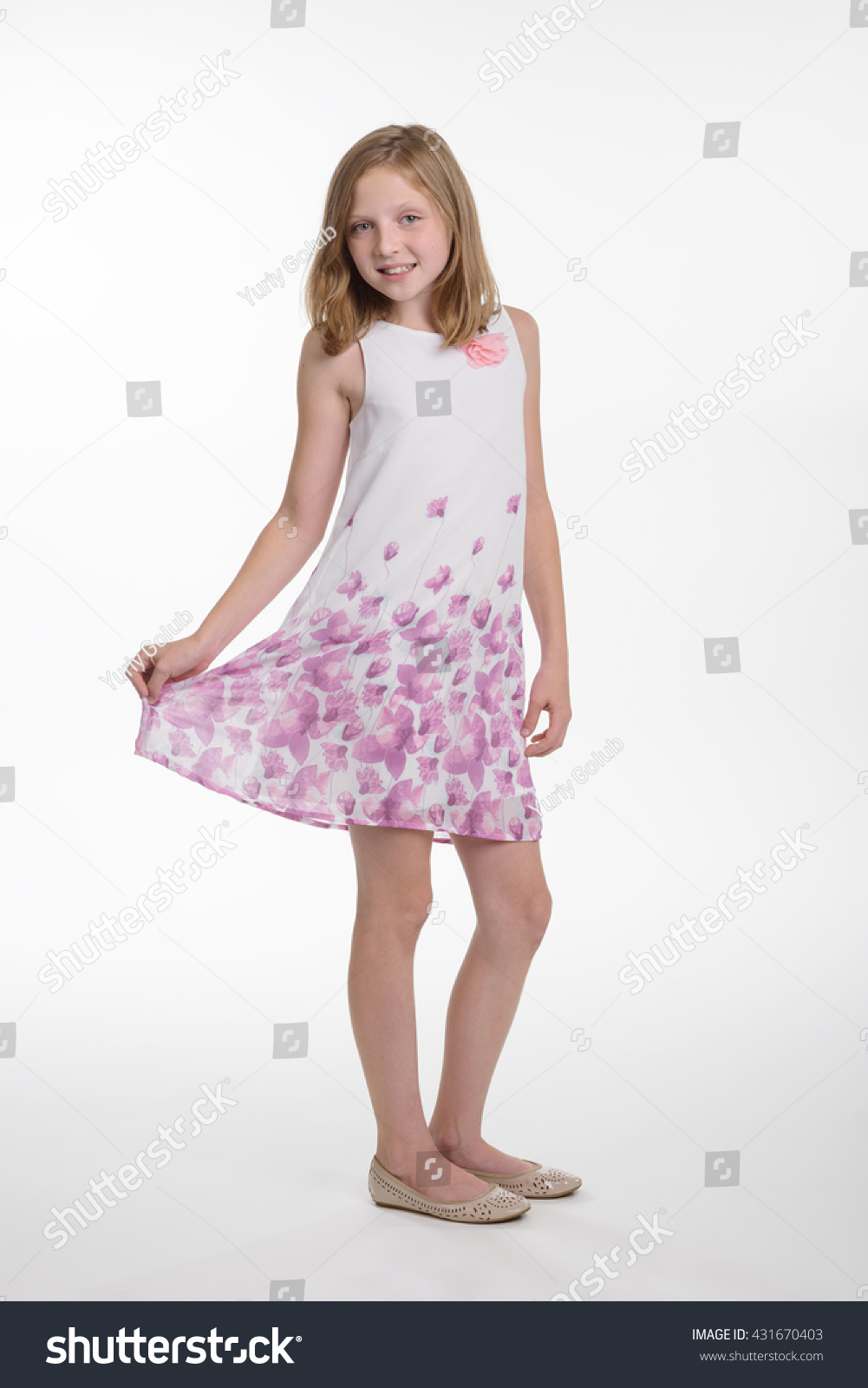 Pretty Child Nice White Dress Pink Stock Photo Royalty Free