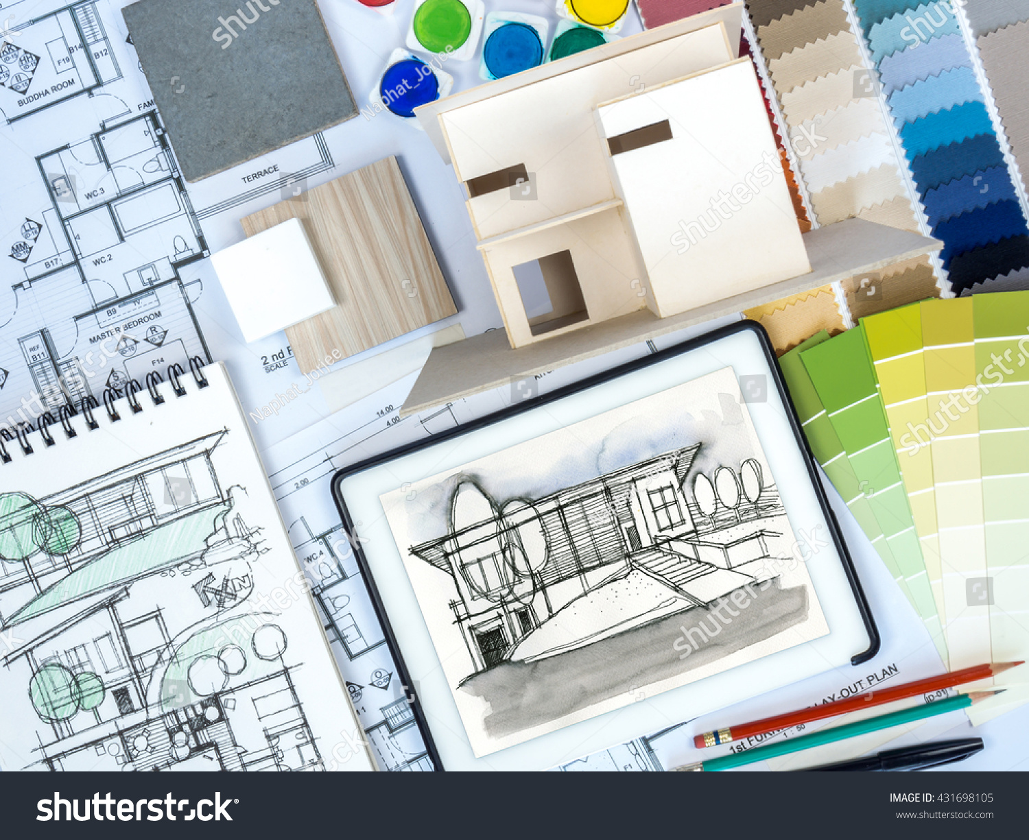 Royalty free top view of architect interior 431698105 stock photo for Best tablet for interior designers