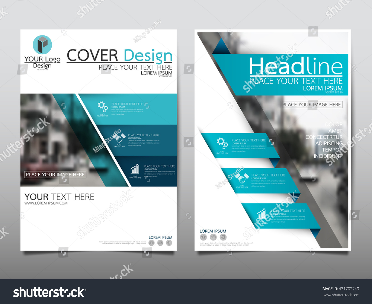 Blue fold technology annual report brochure stock vector for Technology brochure templates