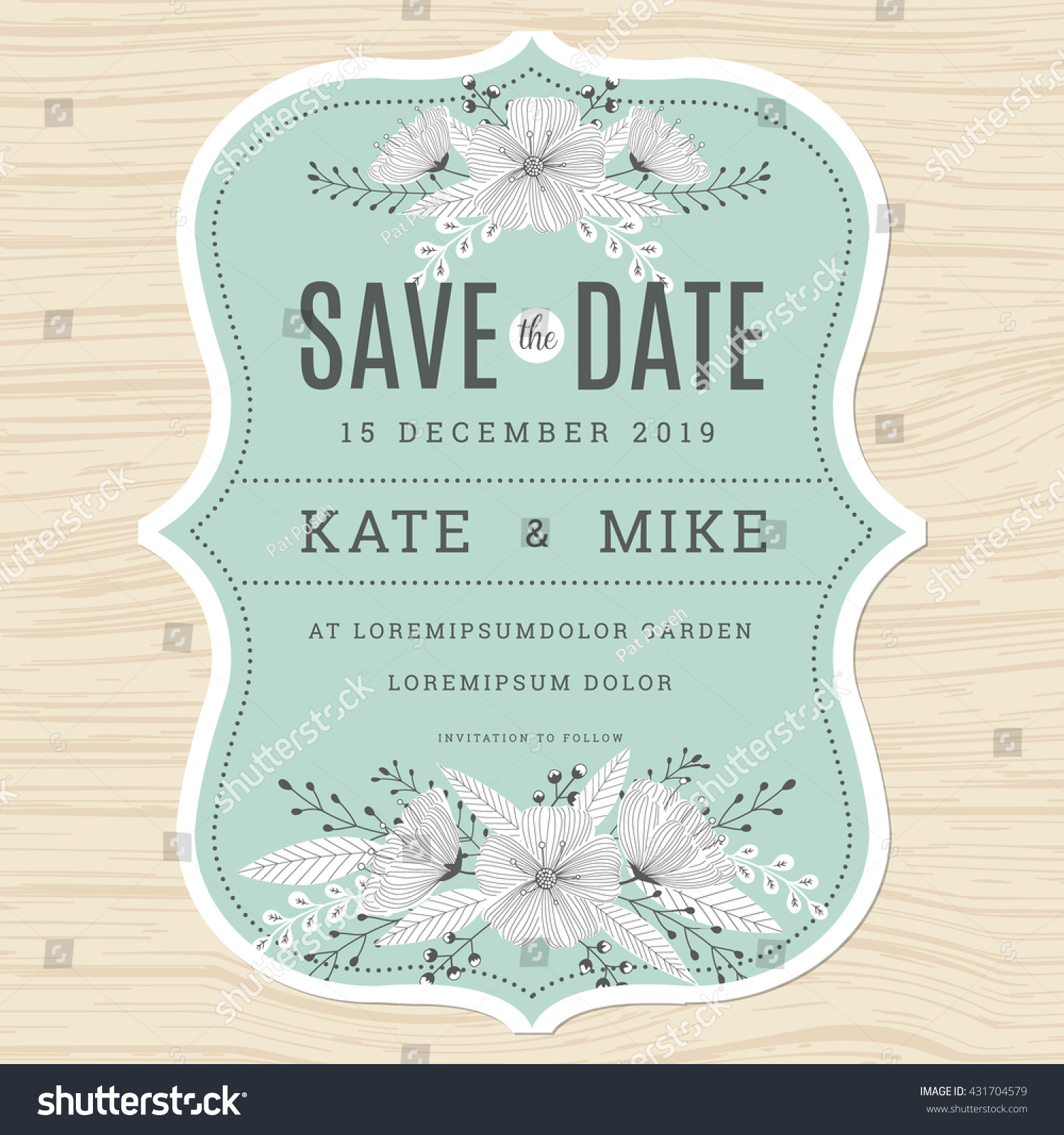 Save Date Wedding Invitation Card Template Stock Vector (Royalty ...