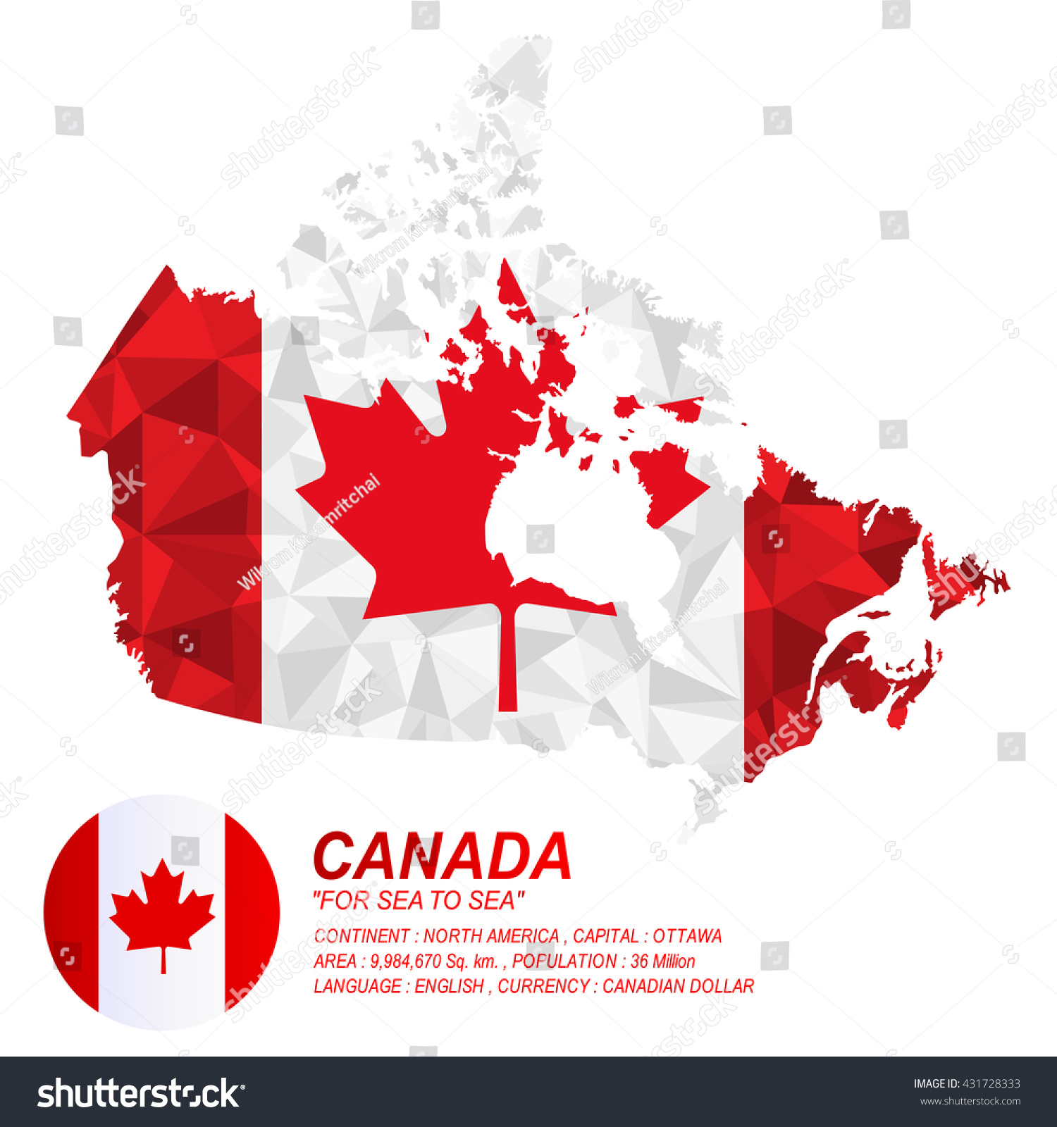 canadian flag overlay on canadian map stock vector 431728333