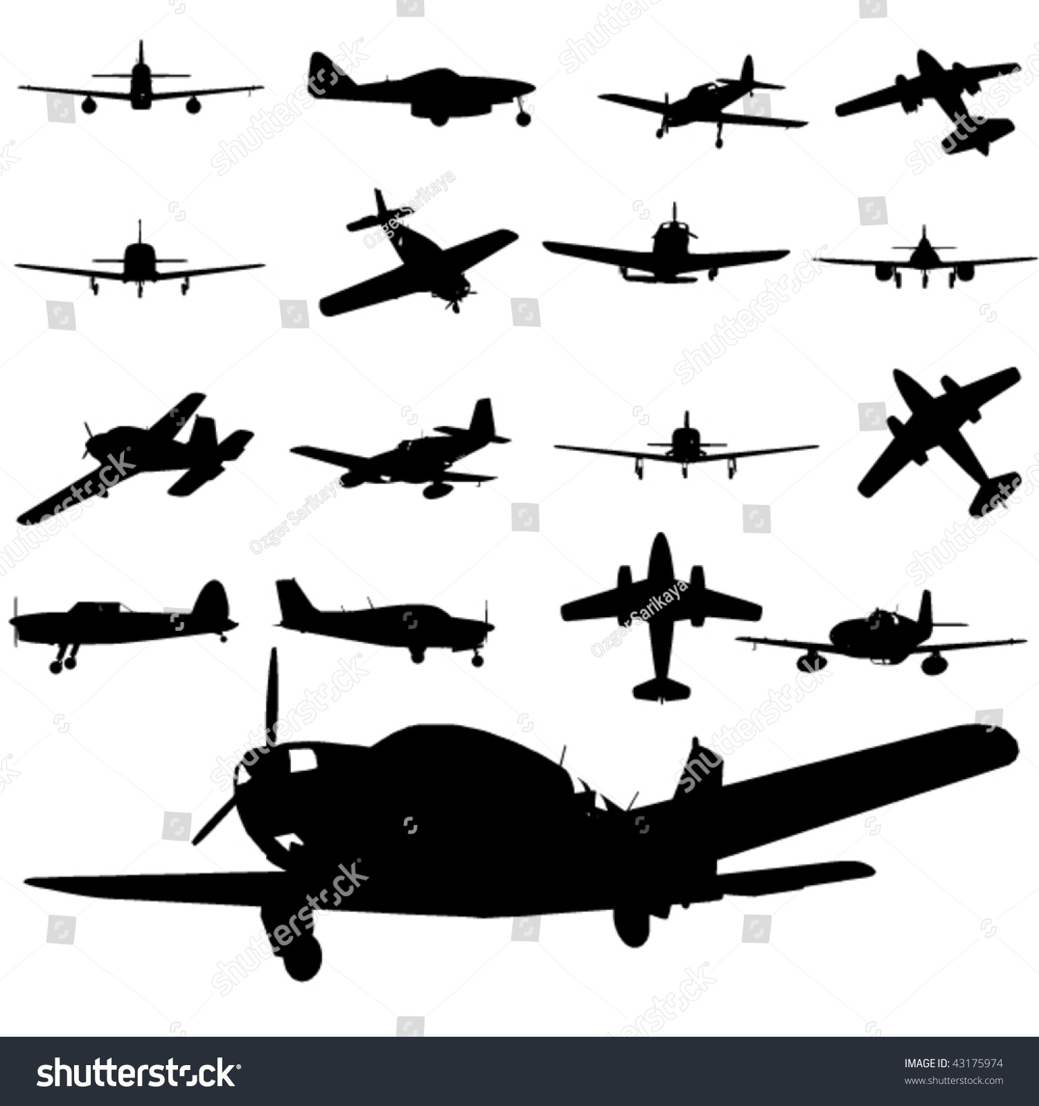 Military Combat Airplane Silhouettes Set Royalty Free Cliparts ...