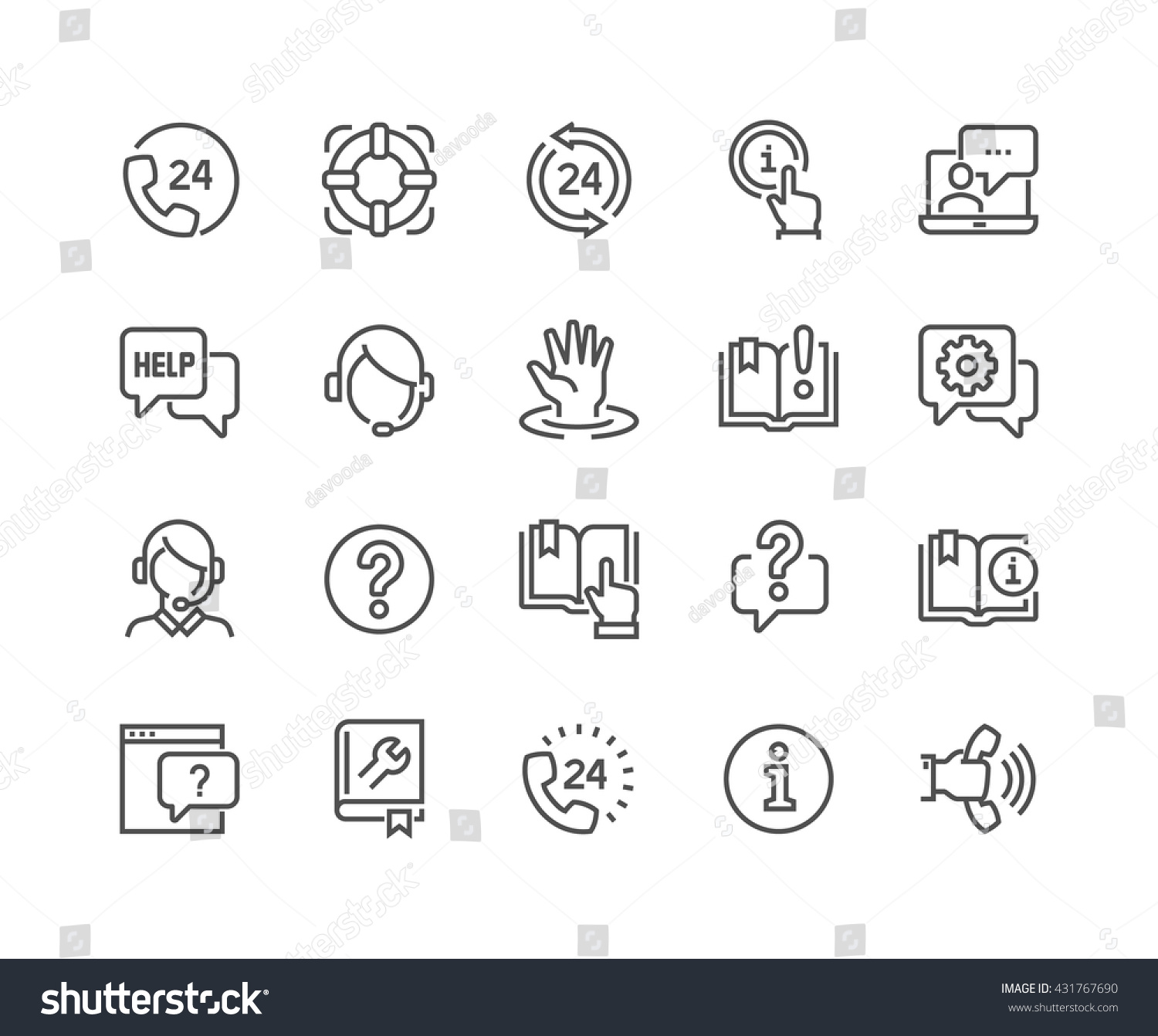 simple set help support related vector stock vector  simple set of help and support related vector line icons contains such icons as phone