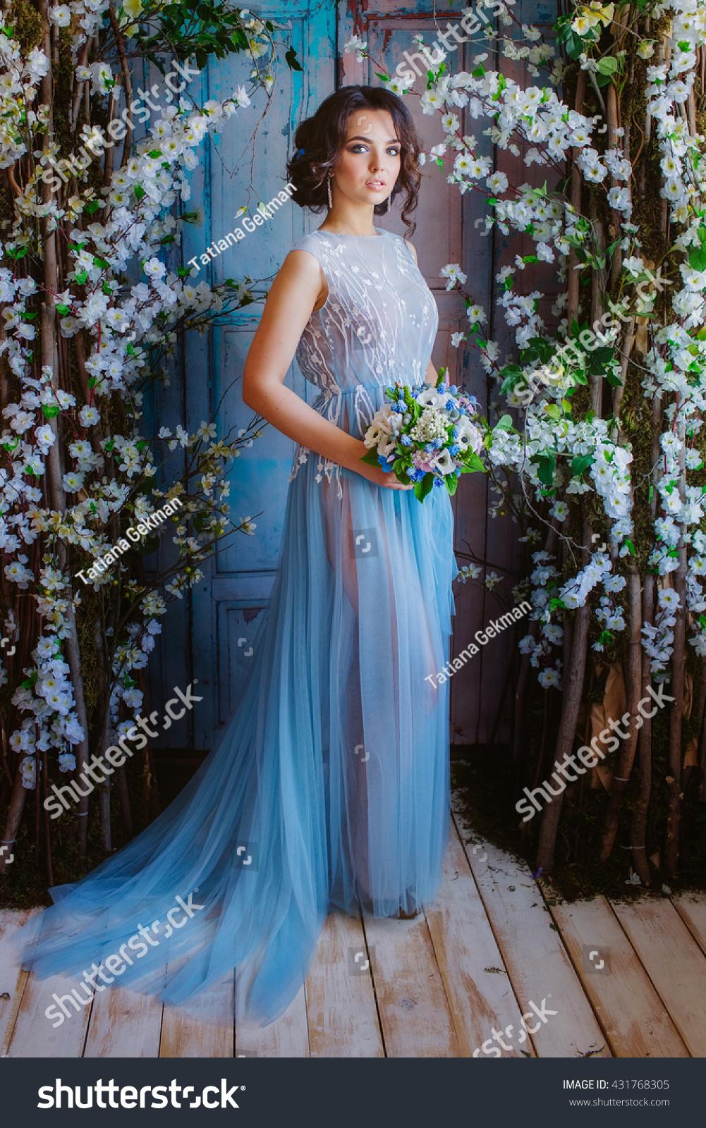Beautiful Bride Studio Wedding Dress Color Stock Photo (Download Now ...