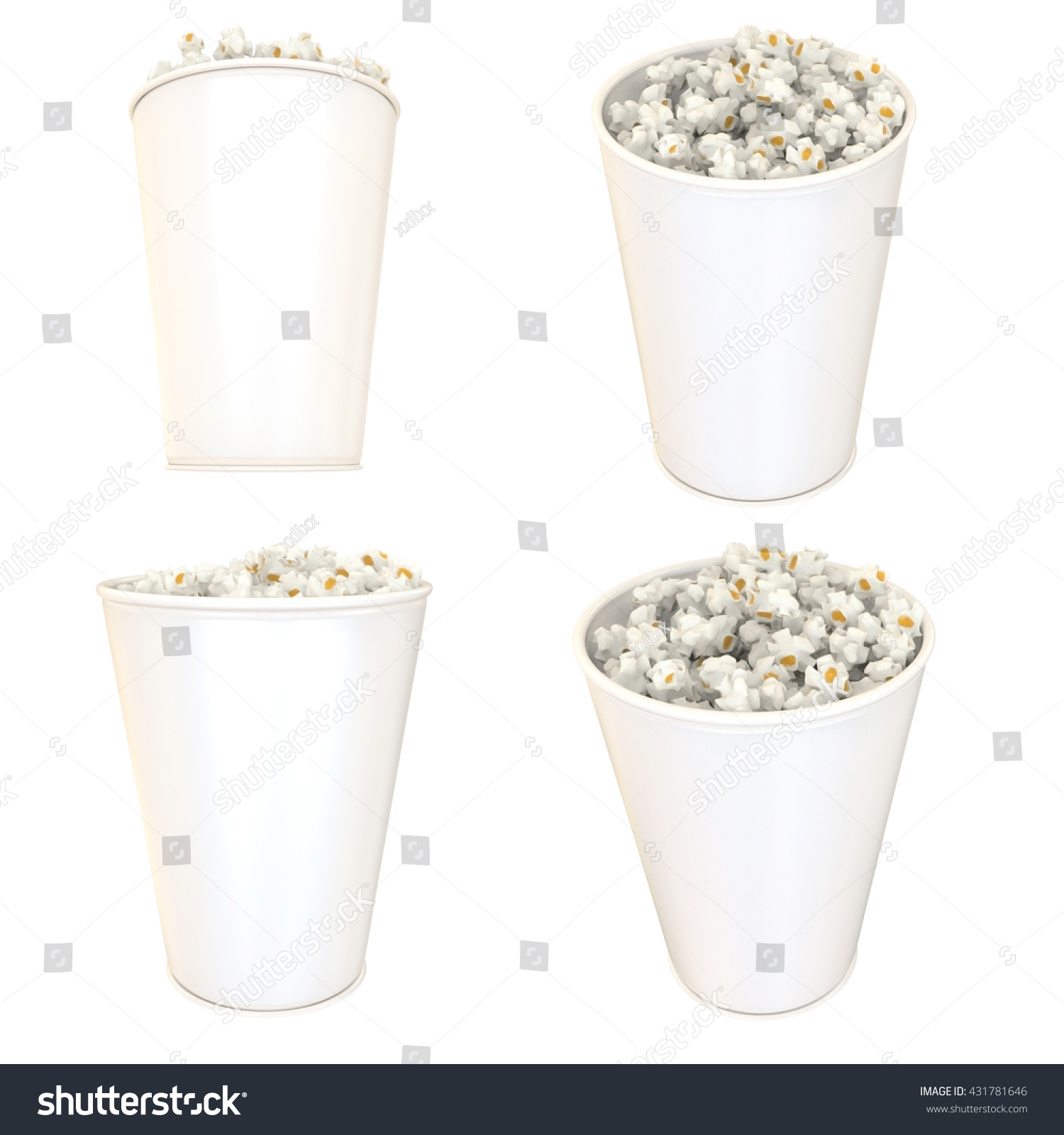 Popcorn white bucket 3 d illustration set stock illustration popcorn in white bucket 3d illustration set mock up template ready for your design maxwellsz