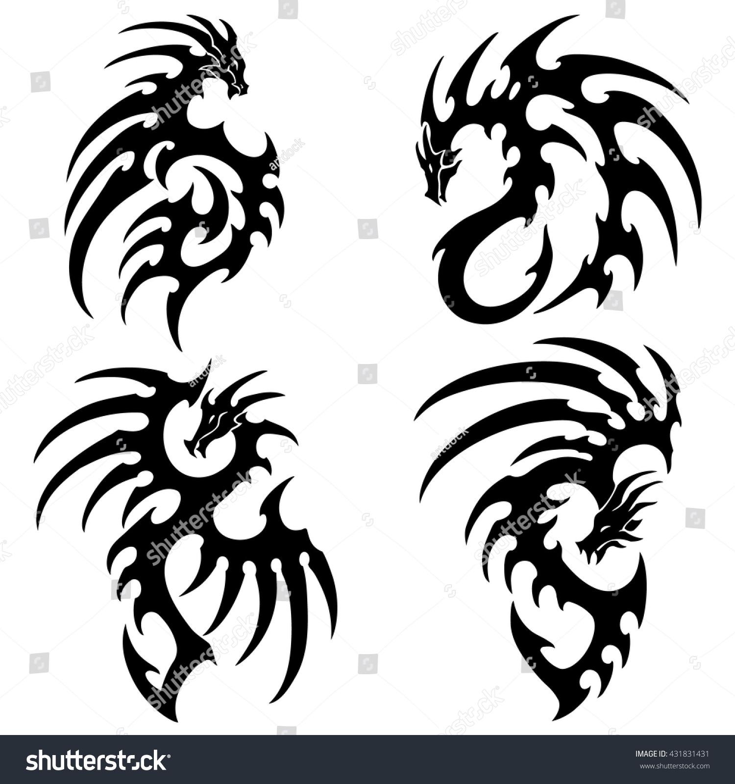 vector illustration set tribal dragon tattoo stock vector