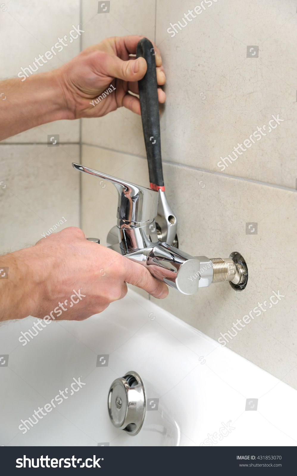 Plumber Fixing Bath Faucet Adjustable Wrench Stock Photo (Royalty ...