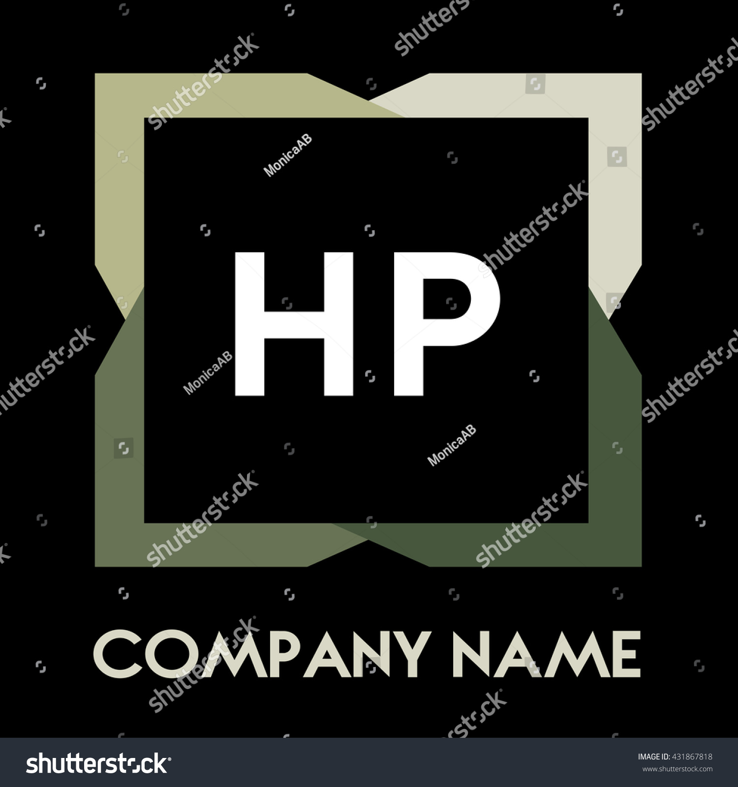 HP Letters Business Logo Creative Icon Design Template Elements In Abstract Background Identity