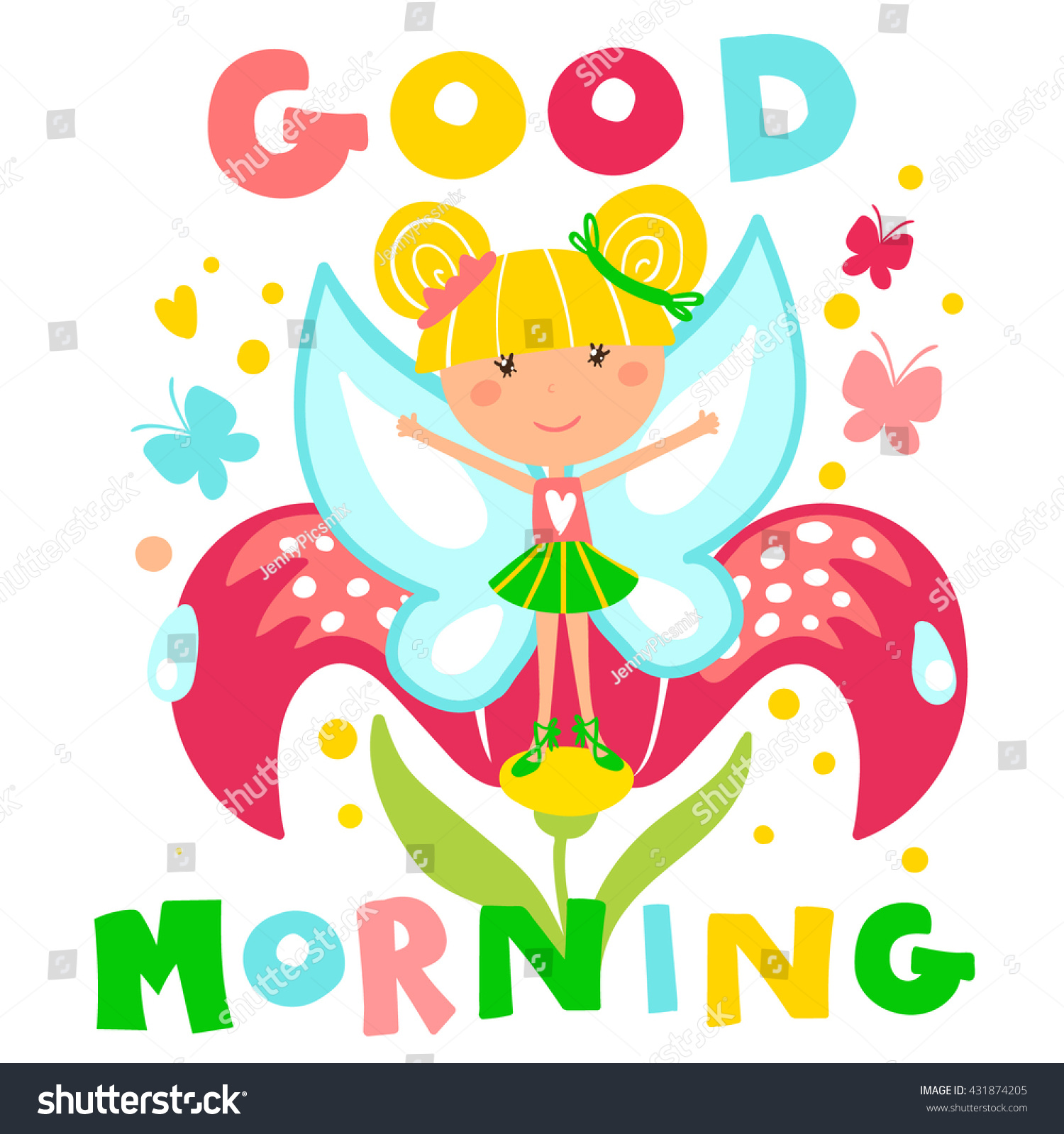Little Fairy Flower Inscription Good Morning Stock Vector Royalty Free 431874205