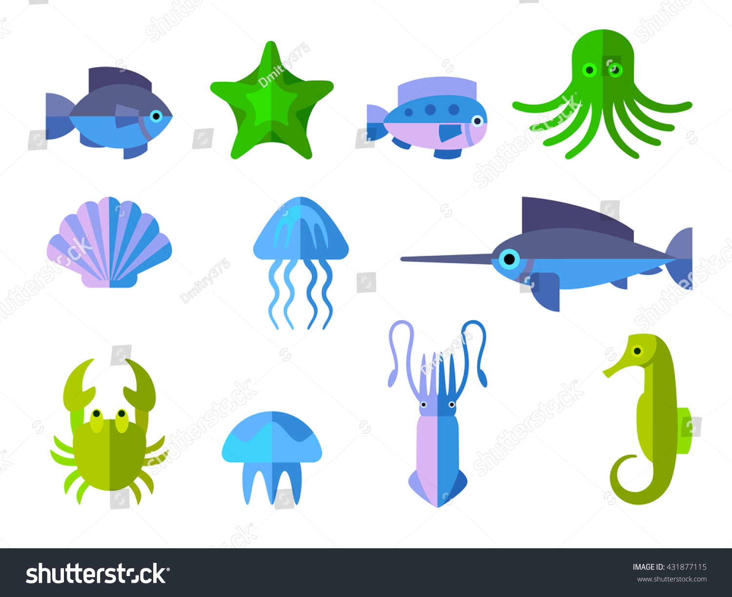 set flat icons aquatic animals stock vector 431877115 shutterstock
