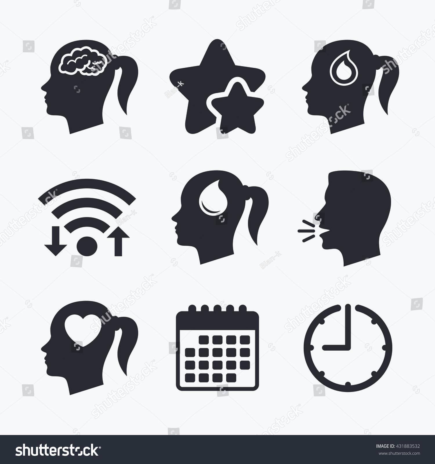 Head brain icon female woman think stock vector 431883532 female woman think symbols blood drop donation signs love biocorpaavc
