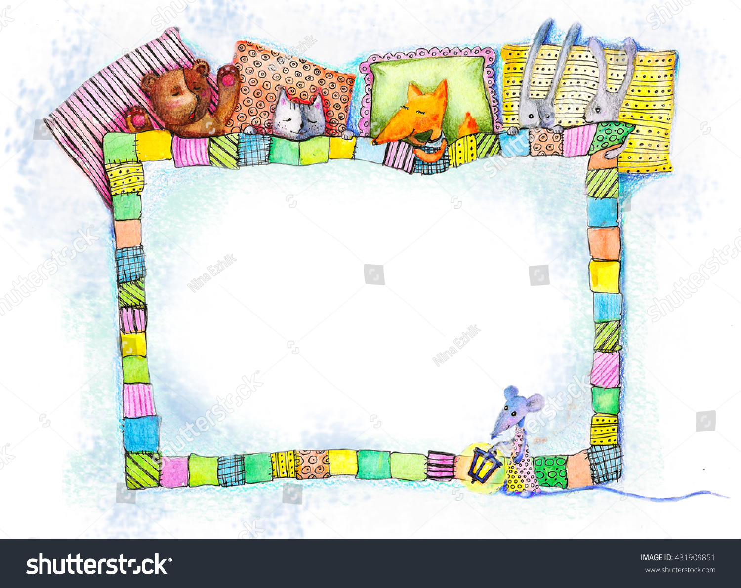 Under Blanket Photo Frame Watercolor Painting Stock Illustration ...