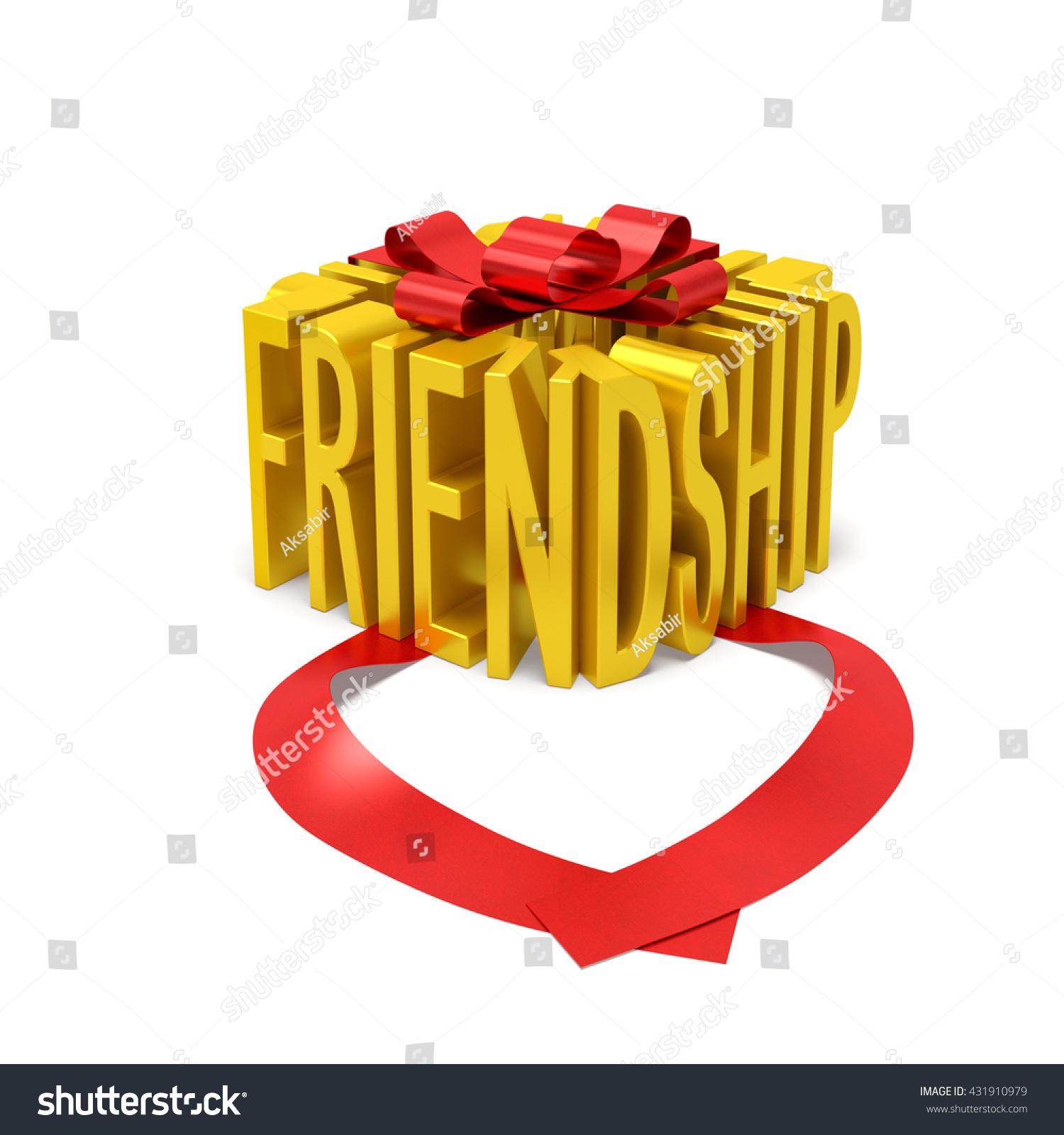 Friendship Creative Concept Golden Word Gift Stock Illustration