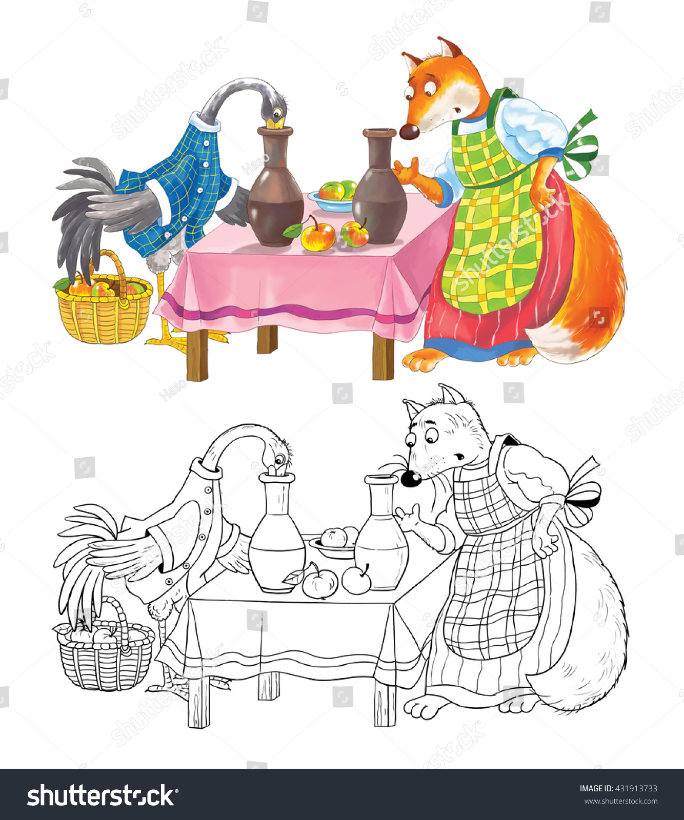 Fox Storkfairy Tale Coloring Book Coloring Stock Illustration ...