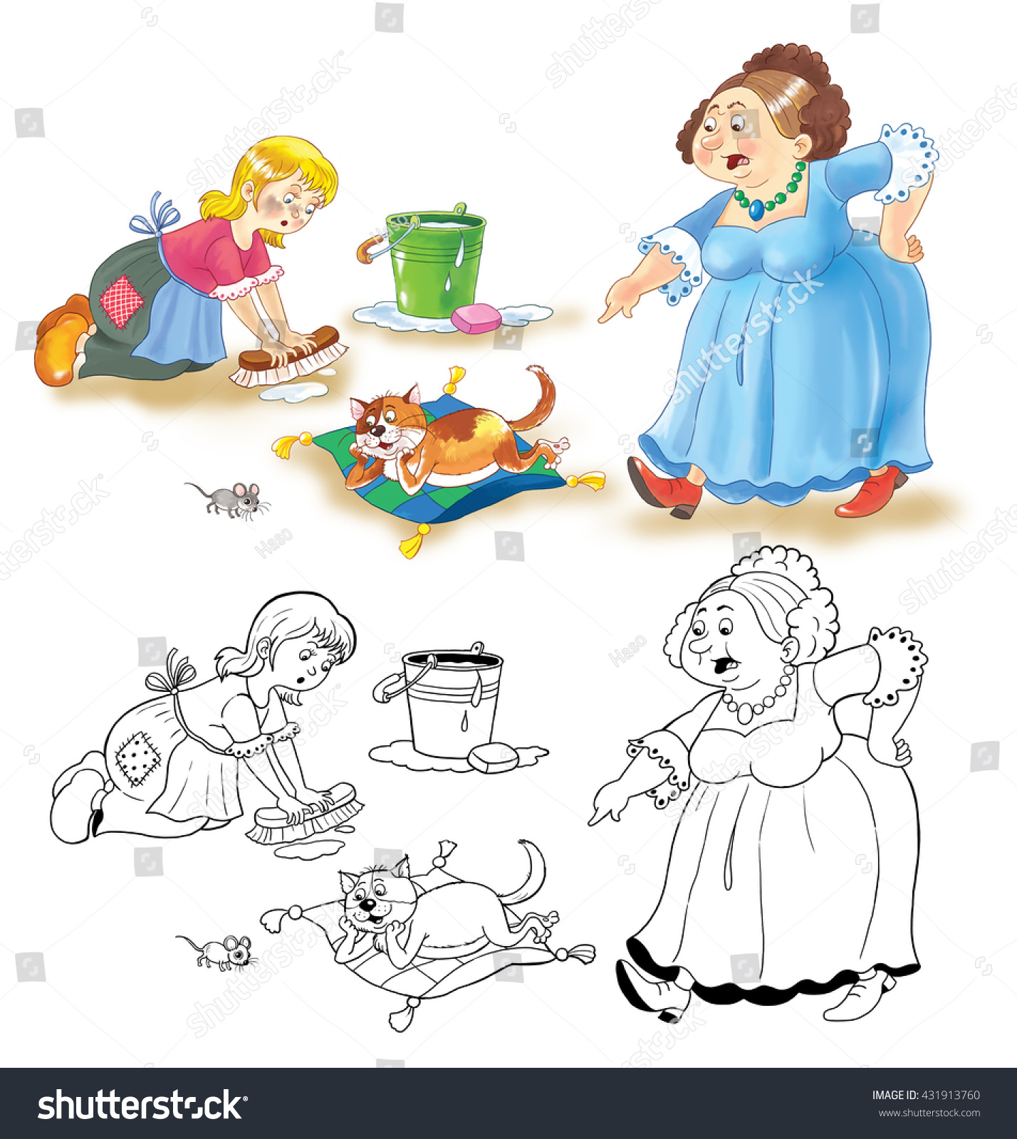 cinderella fairy tale coloring book coloring stock illustration