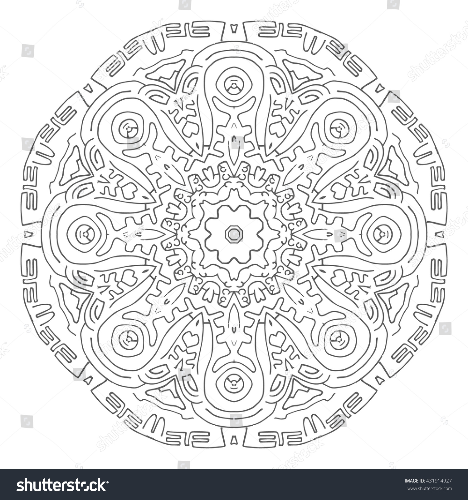 Hand drawn mandalas Decorative elements Vector illustration Islam Arabic Indian turkish pakistan chinese ottoman motifs