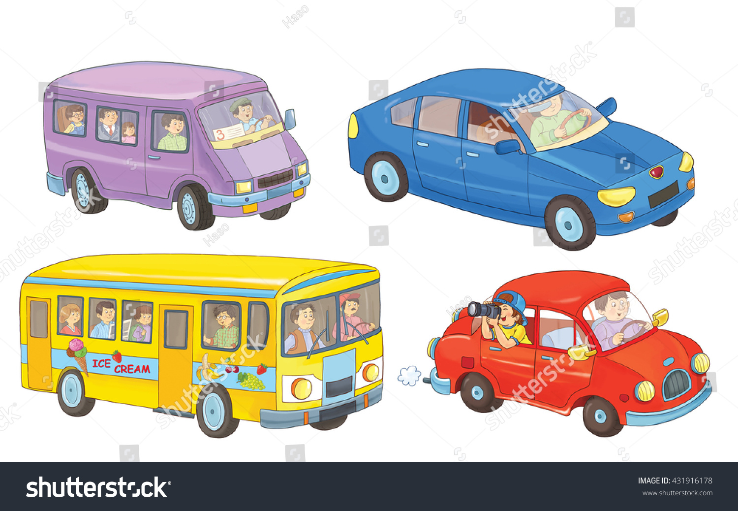 Two Cars A Bus And Minibus Coloring Book Page