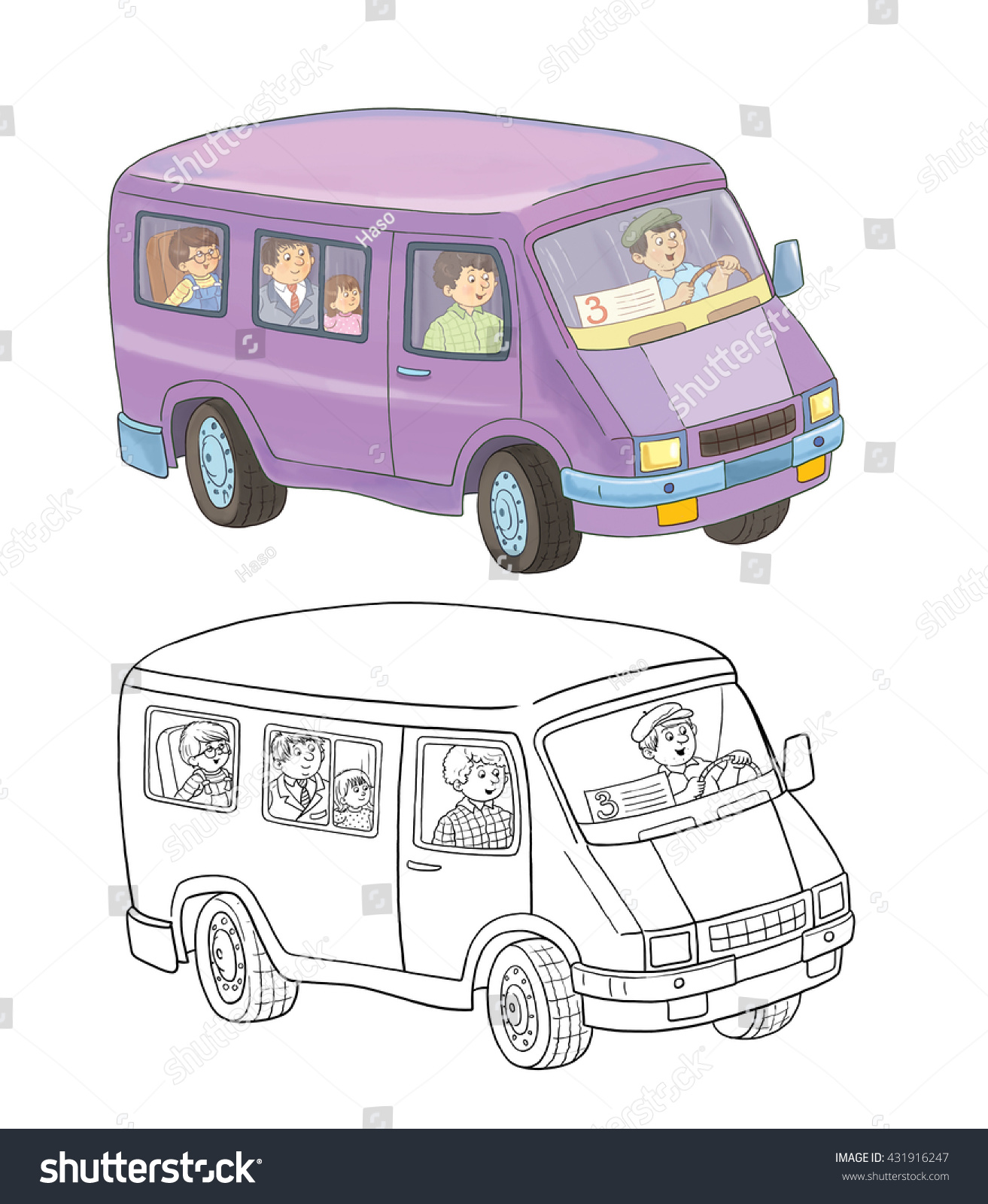 A Minibus With Passengers Coloring Book Page Illustration For Children Cute
