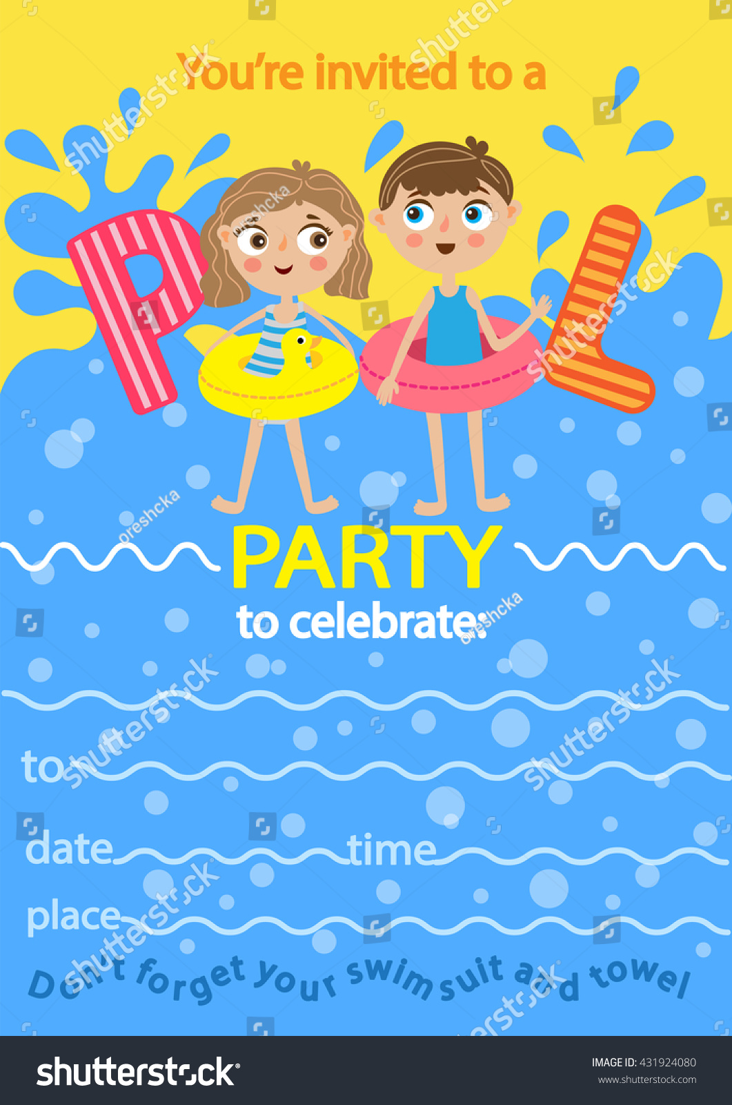 Pool Party Invitation Template Card Kids Stock Vector 431924080 ...