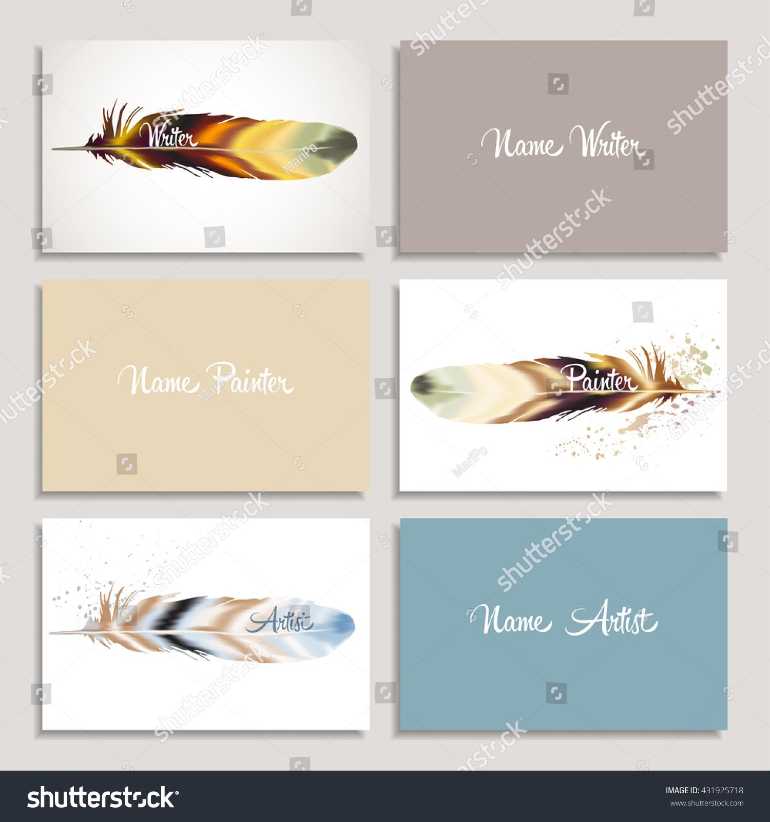 Set Business Card Writer Artist Painter Stock Vector