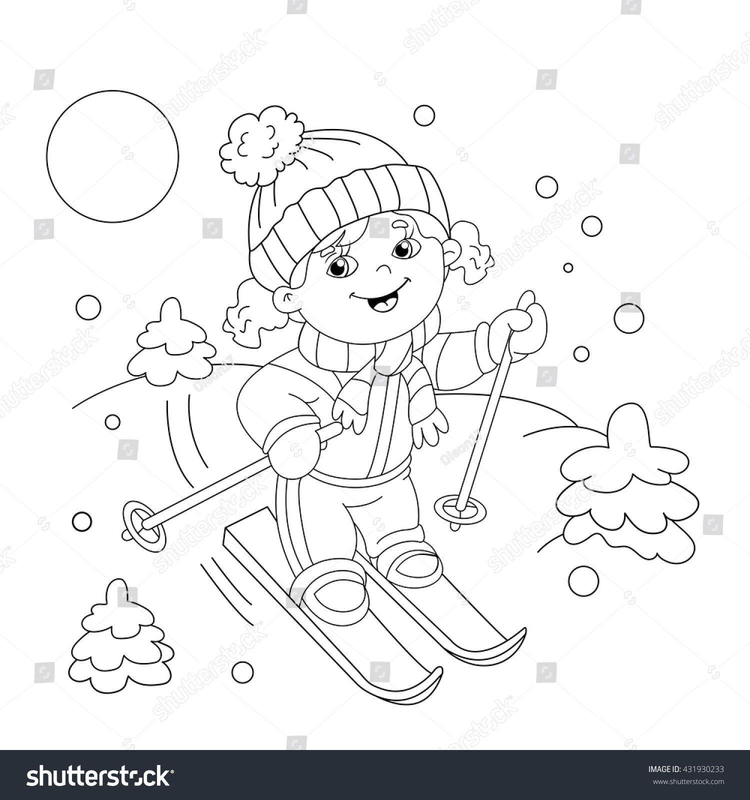 coloring page outline of cartoon girl riding on skis winter sports coloring book for - Sports Coloring Book