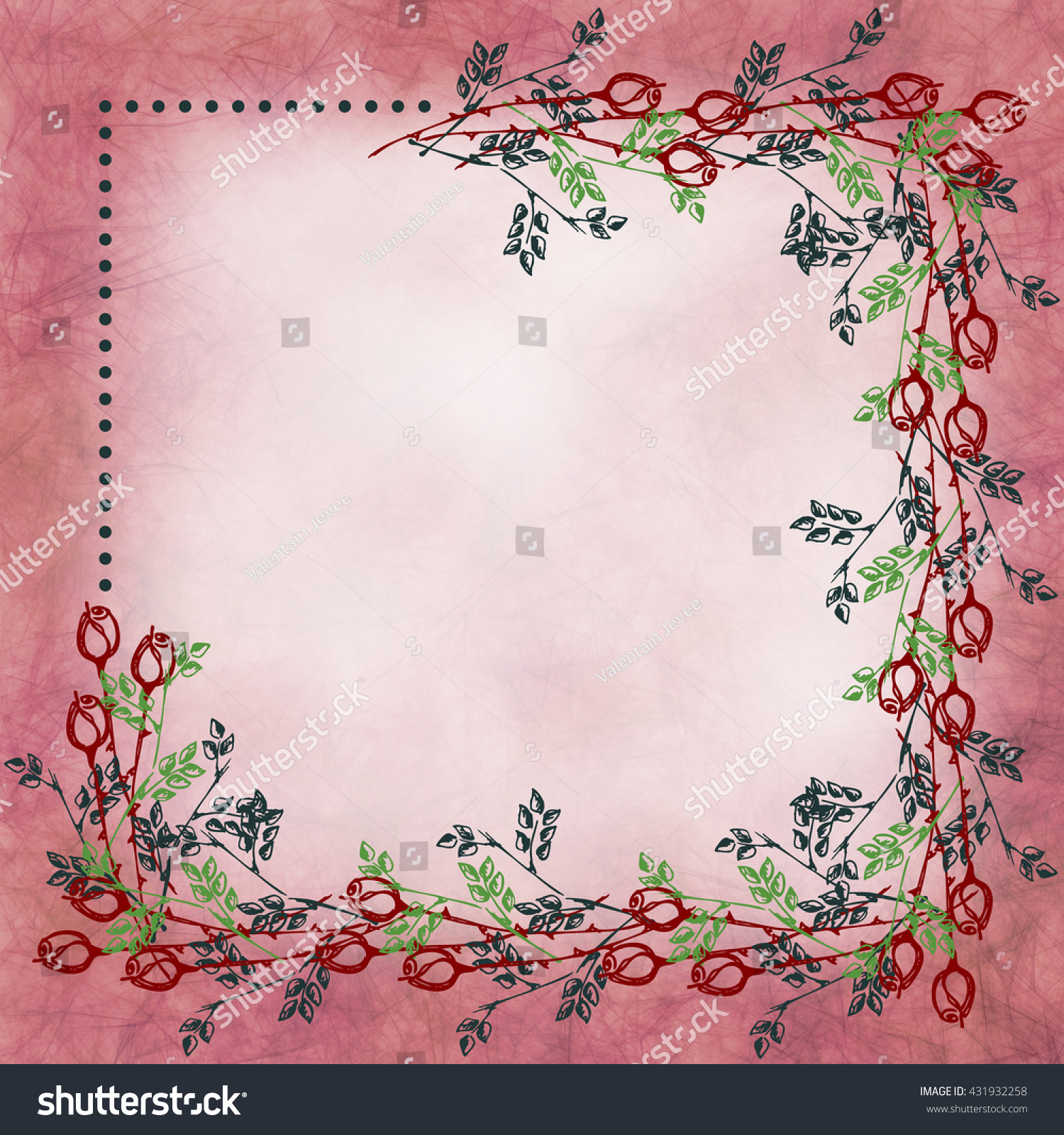 Hand Drawn Textured Floral Background Vintage Card Stock