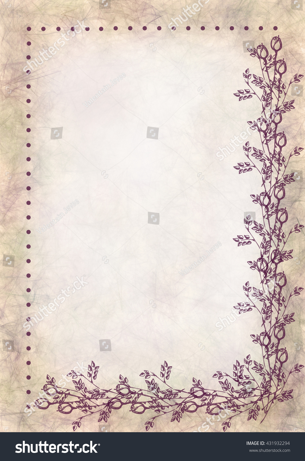 hand drawn textured floral background crumpled paper stock
