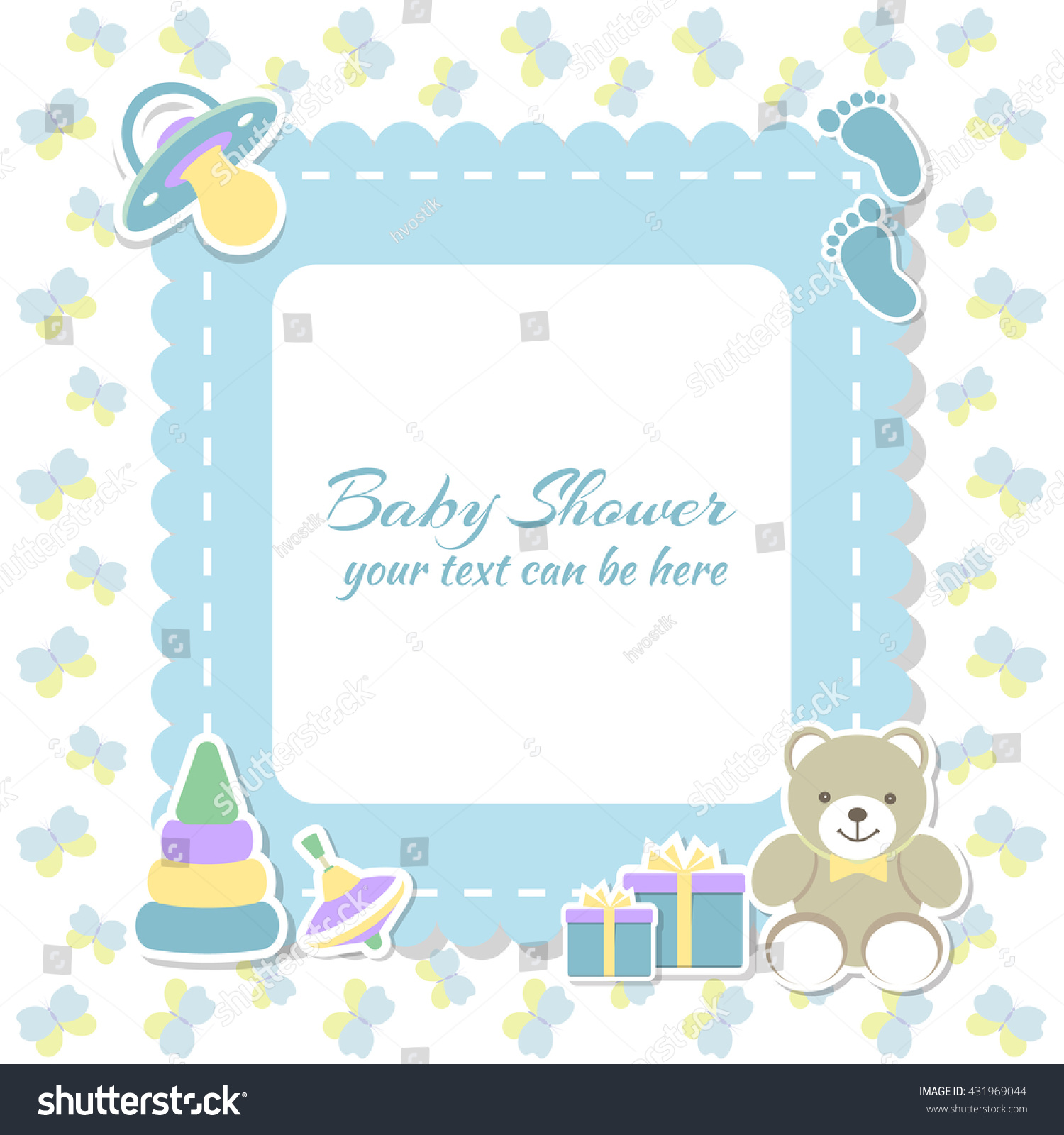 Baby Shower Boy Invitation Card Place Stock Vector Royalty Free