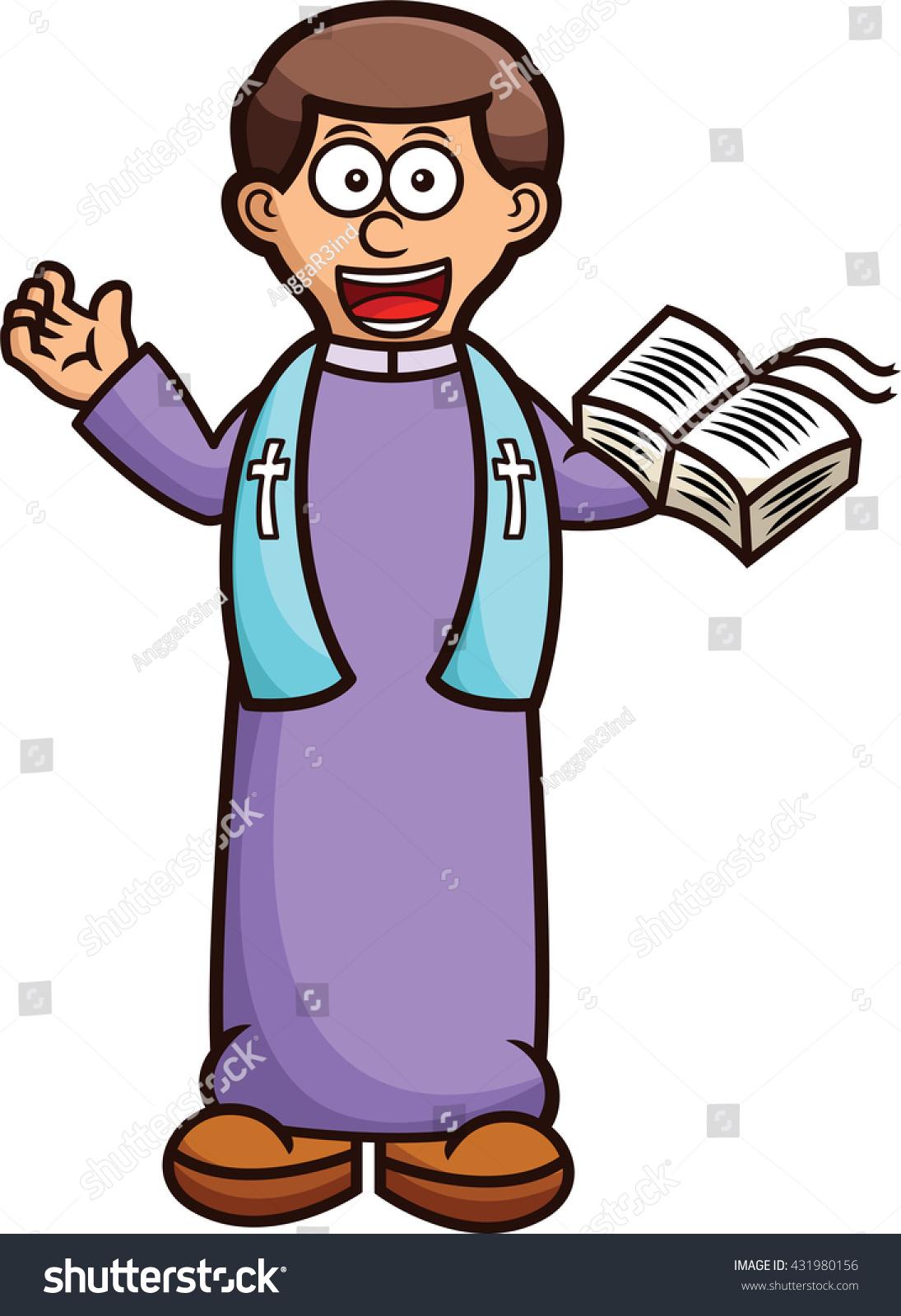 Pastor Holy Bible Cartoon Stock Vector 431980156 ...