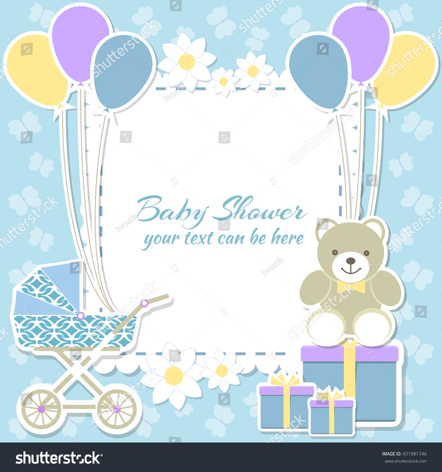 Baby Shower Boy Invitation Card Place Stock Vector 431981746