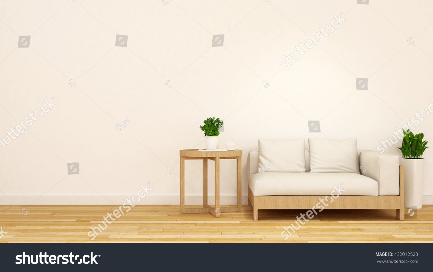 Wooden white sofa coffee table plant3d stock illustration for Sofa table for plants