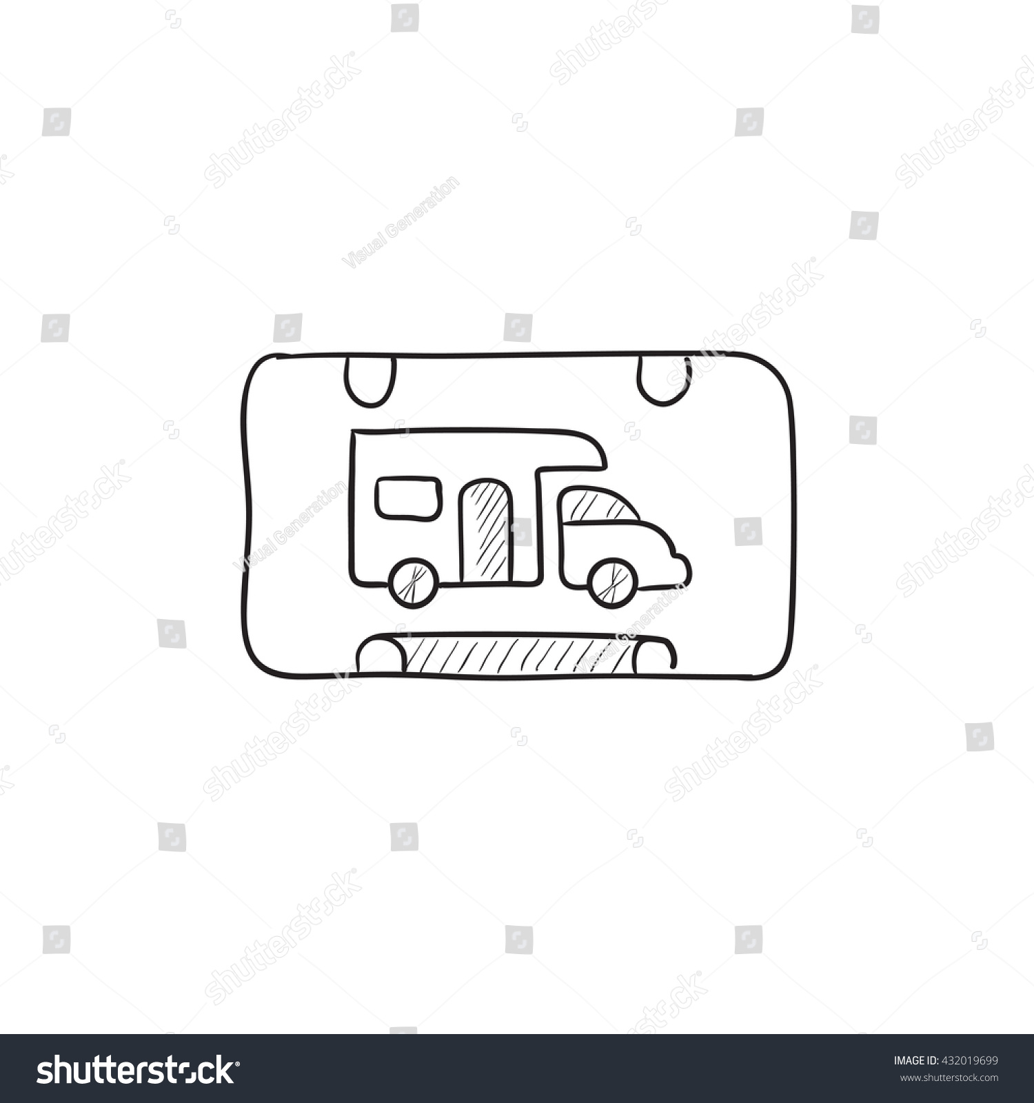 RV Camping Sign Vector Sketch Icon Isolated On Background Hand Drawn