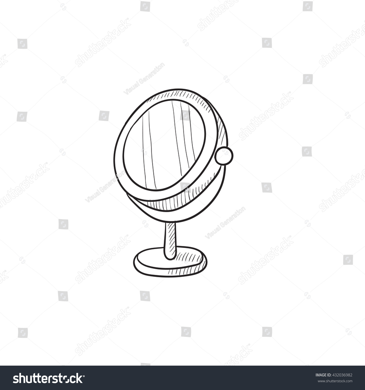 hand mirror sketch. Round Makeup Mirror Vector Sketch Icon Isolated On Background. Hand Drawn