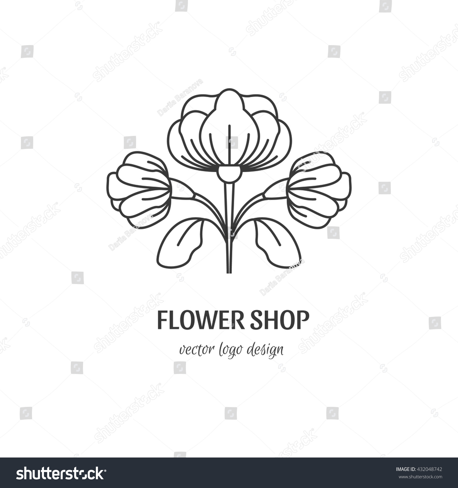Vector Flower Symbol Line Style Logotype Stock Vector Hd Royalty